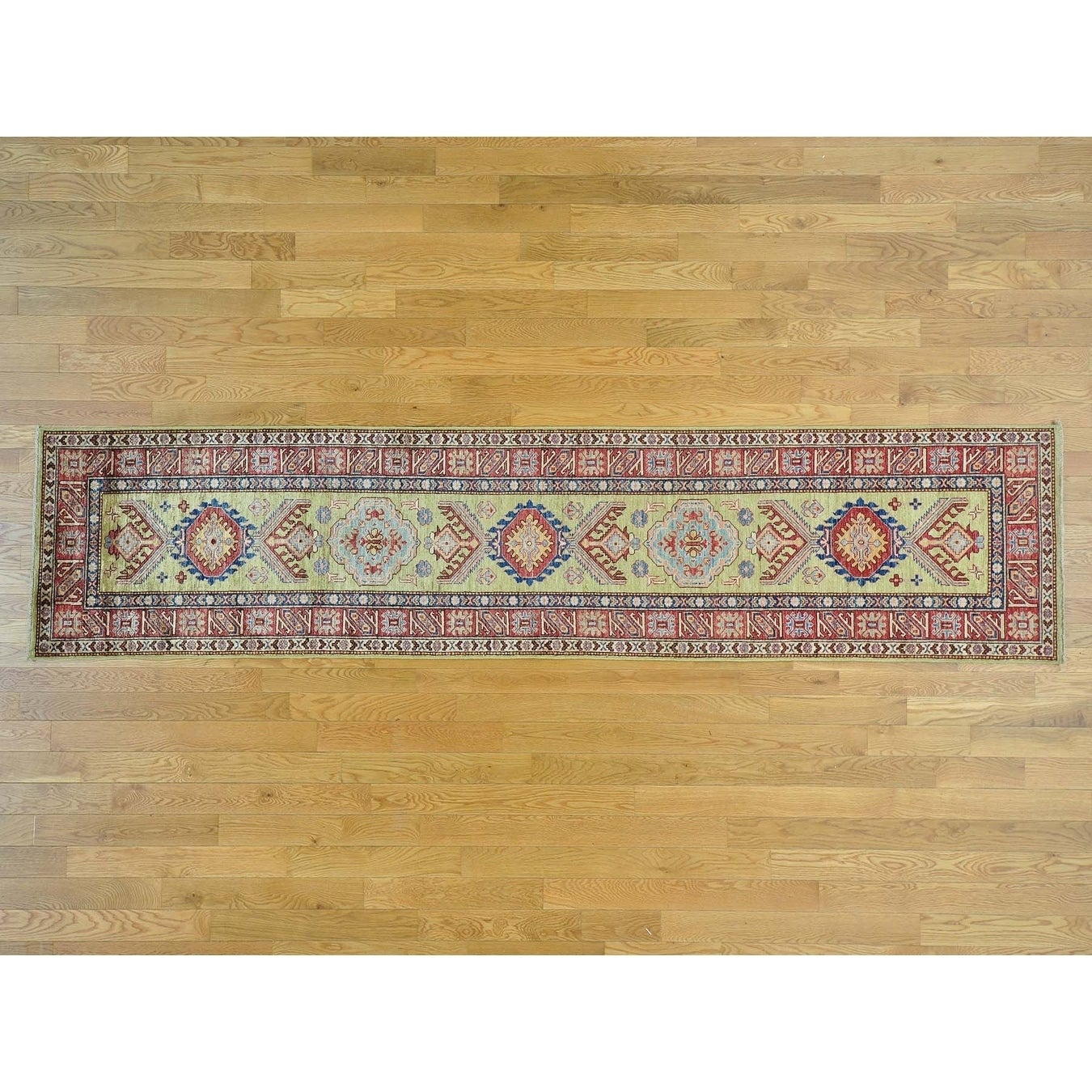 Hand Knotted Green Kazak with Wool Oriental Rug