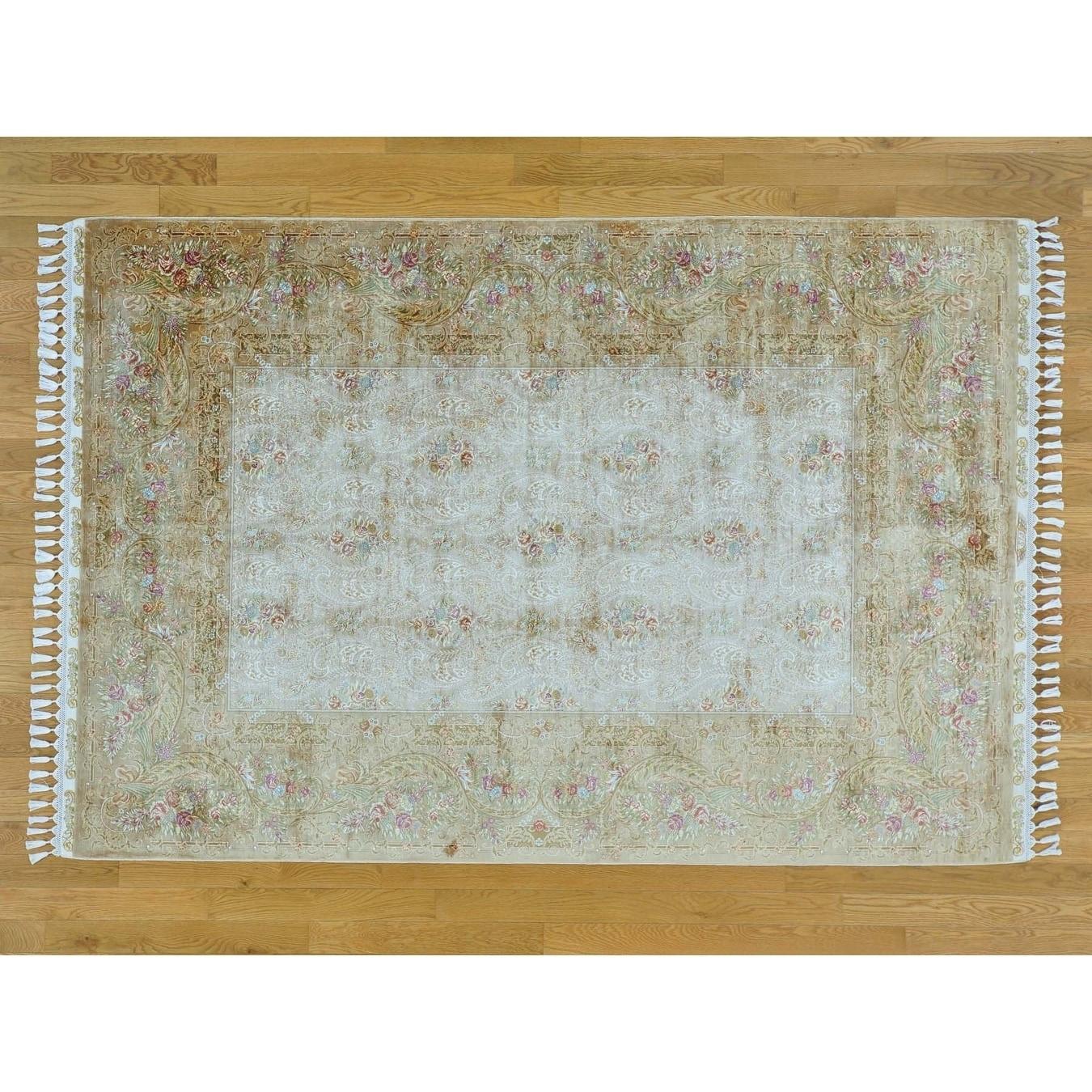 Hand Knotted Beige Fine Oriental with Silk Oriental Rug - 56 x 82