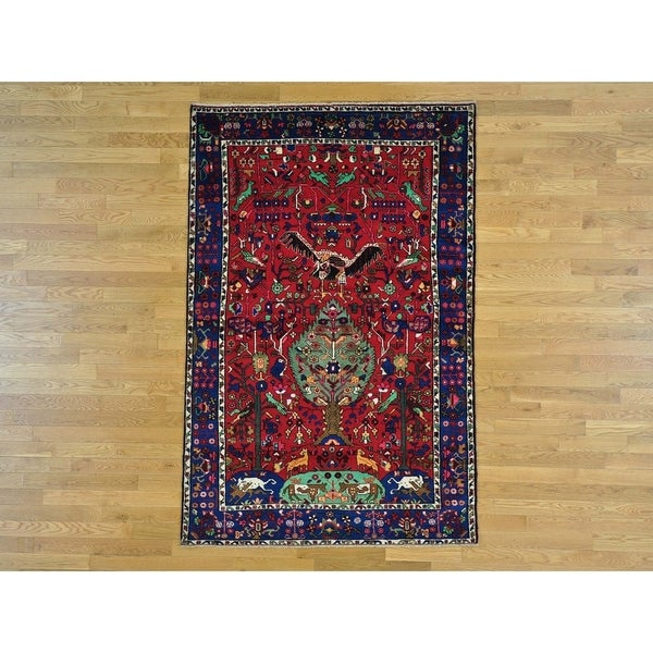 Hand Knotted Red Persian with Wool Oriental Rug - 5' x 7'6
