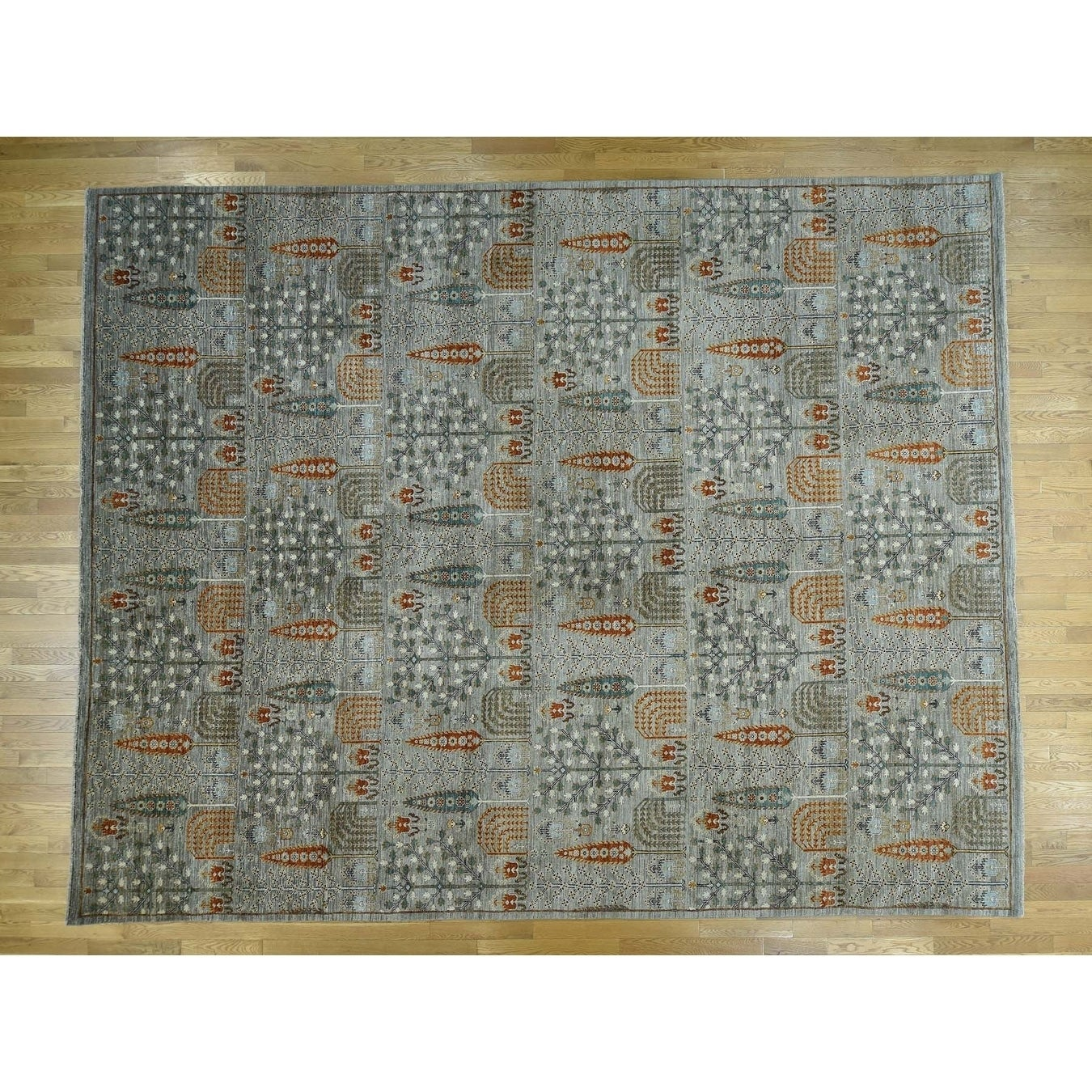 Hand Knotted Grey Tribal & Geometric with Wool Oriental Rug
