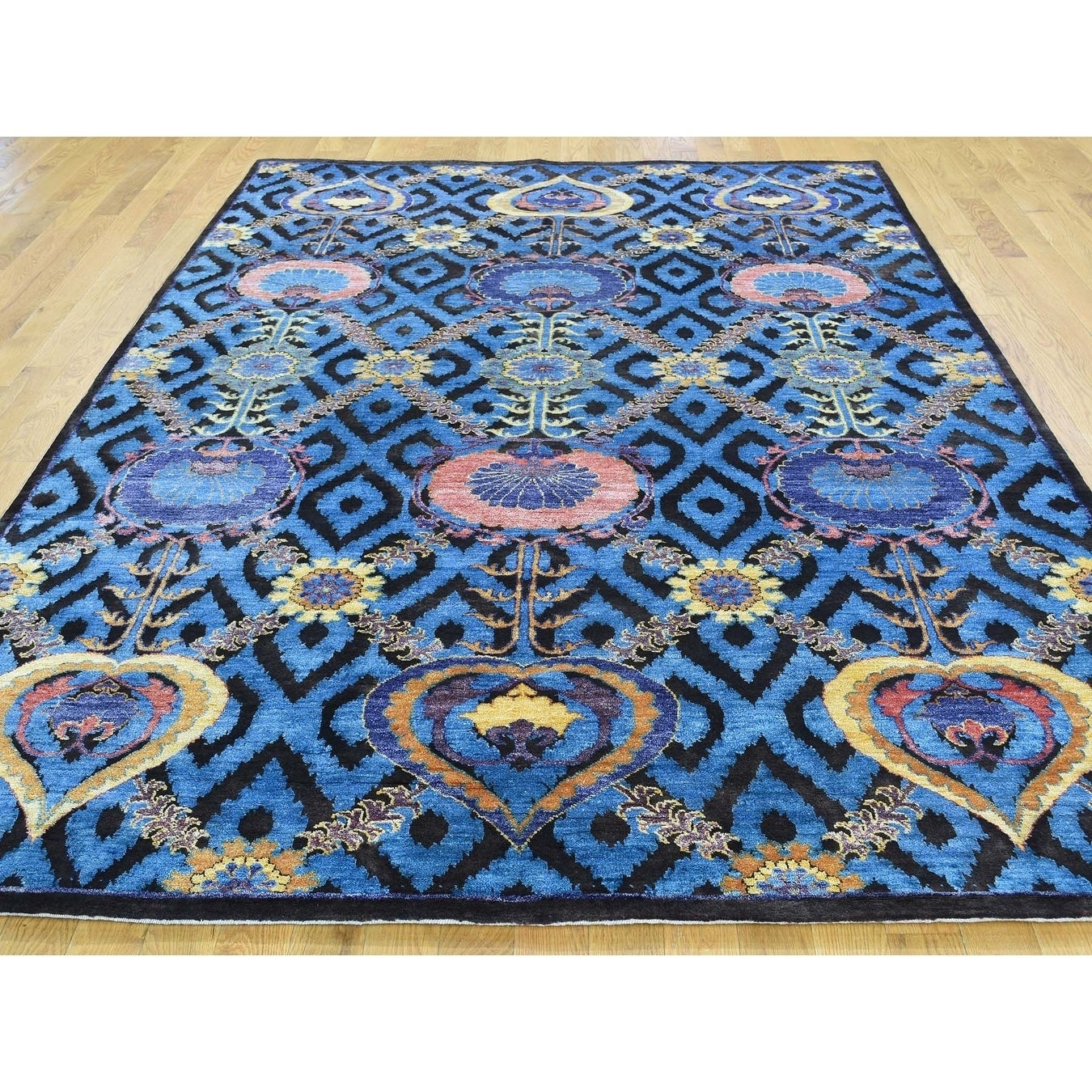 Hand Knotted Blue Modern & Contemporary with Wool & Silk Oriental Rug - 6 x 9