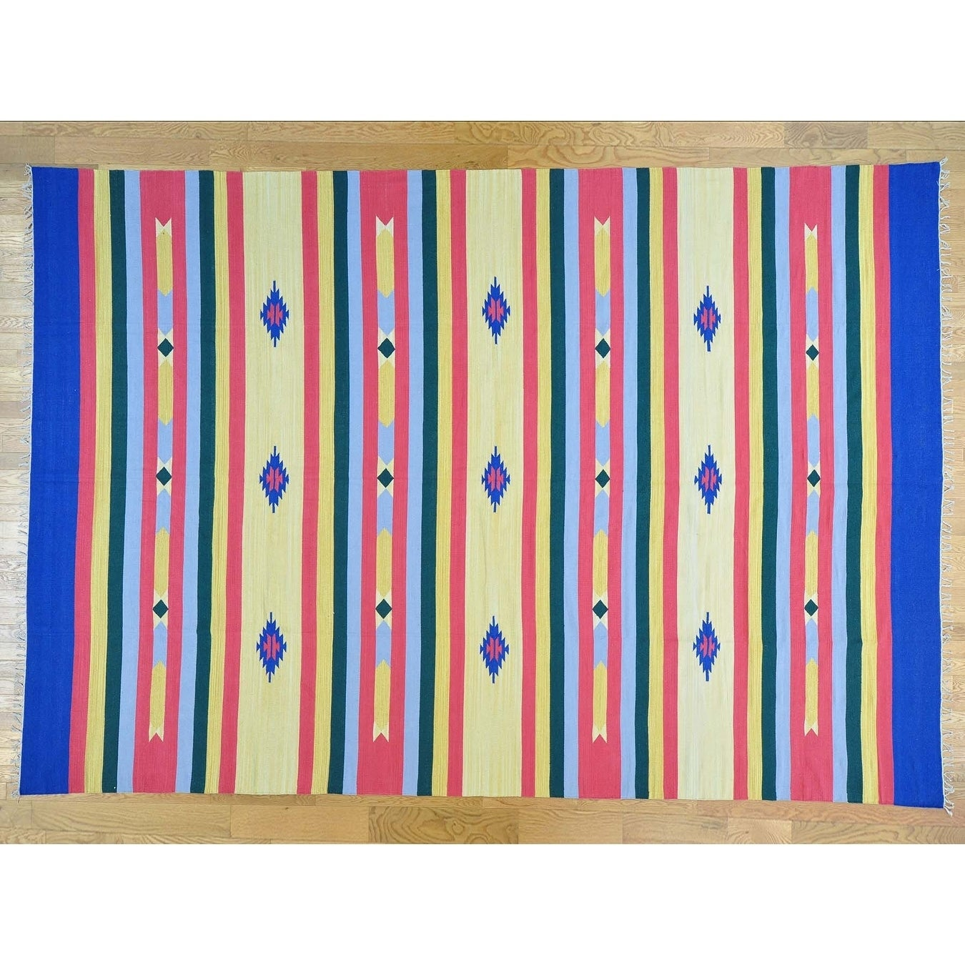Hand Knotted Multicolored Flat Weave with Cotton Oriental Rug - 10 x 145