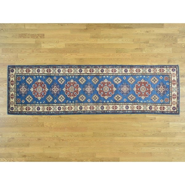 Hand Knotted Blue Kazak with Wool Oriental Rug - 2'9 x 9'5
