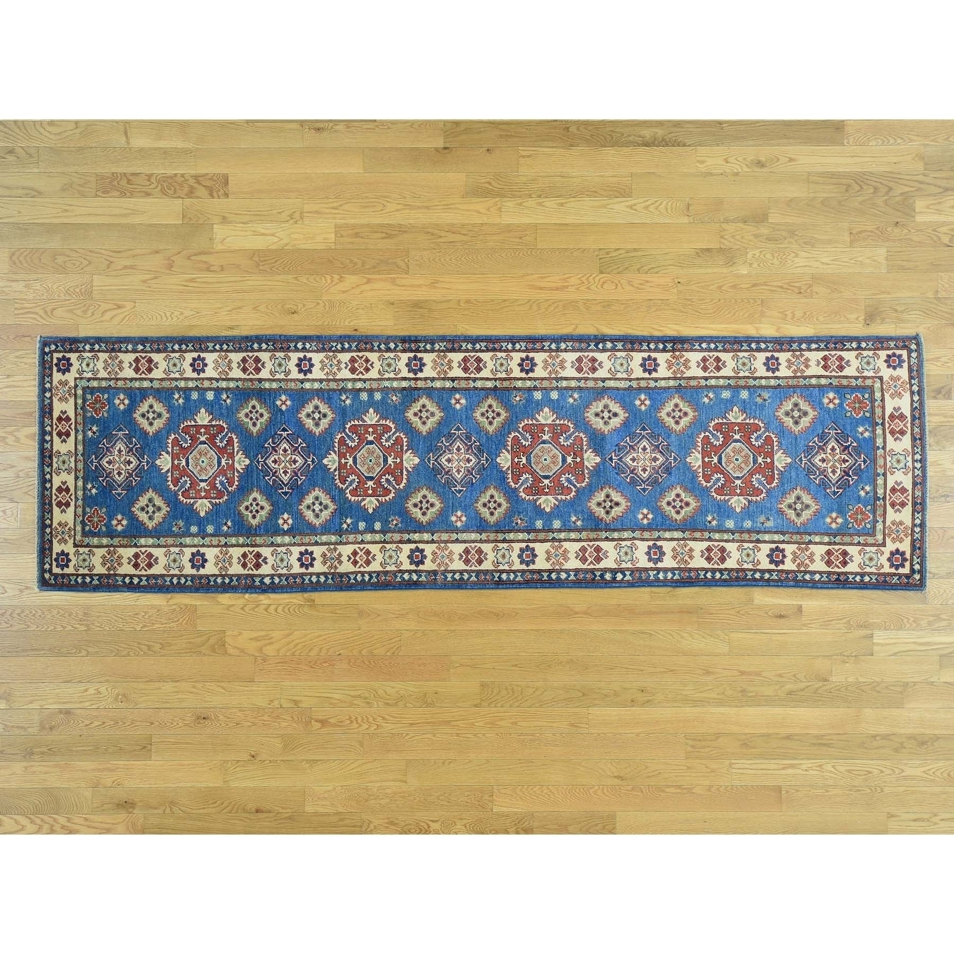 Hand Knotted Blue Kazak with Wool Oriental Rug - 29 x 95