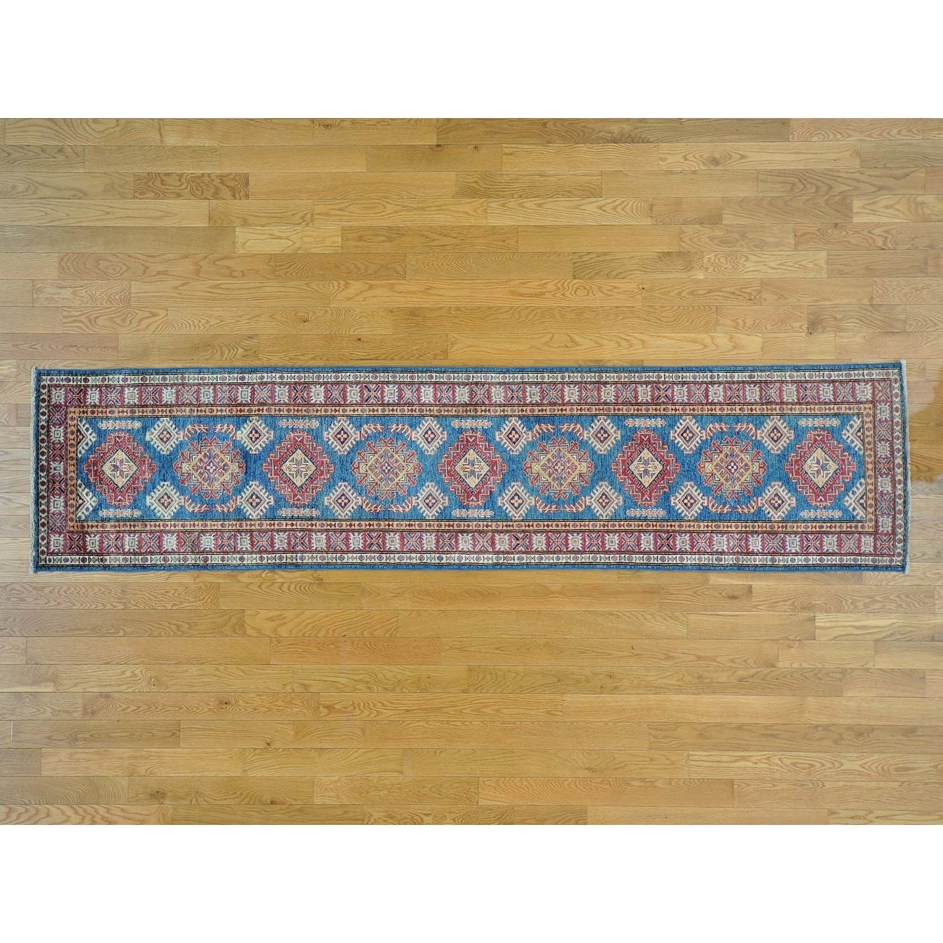 Hand Knotted Blue Kazak with Wool Oriental Rug - 25 x 106
