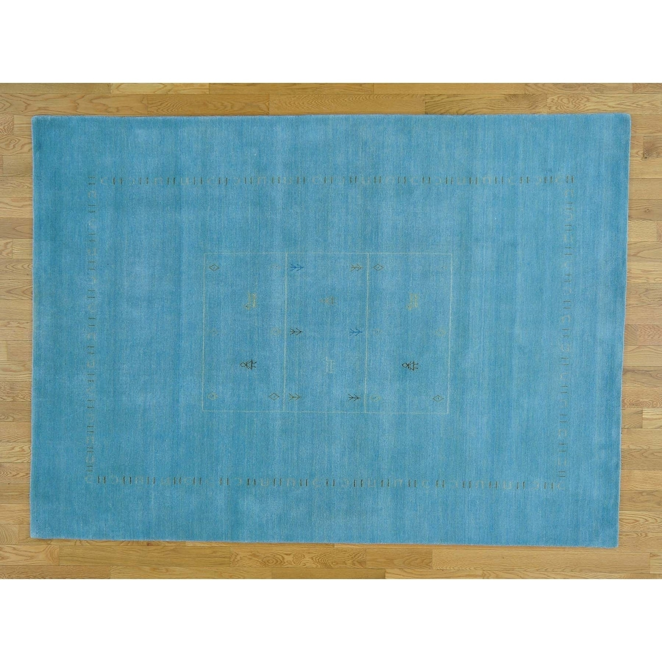 Hand Knotted Blue Modern & Contemporary with Wool Oriental Rug - 58 x 710