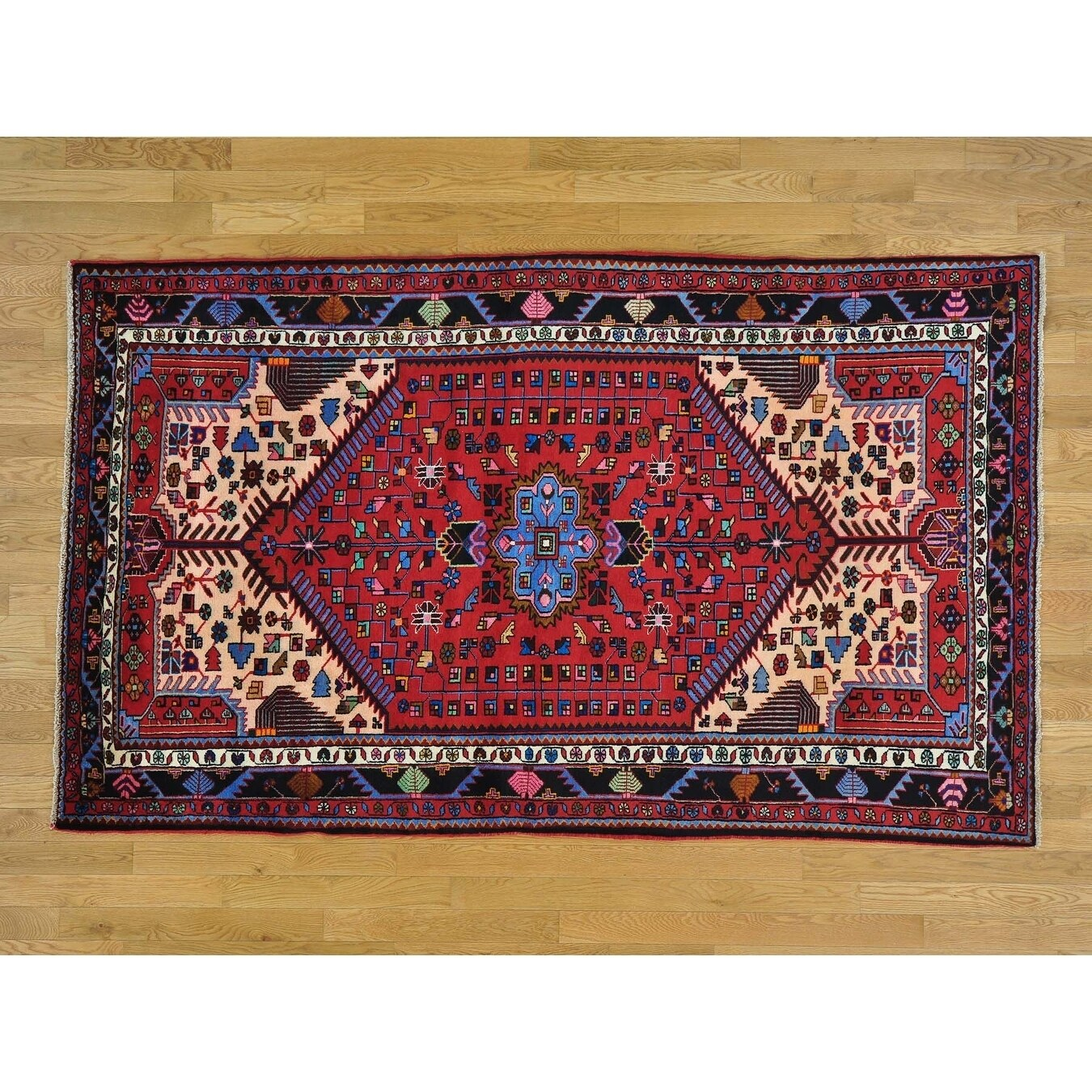 Hand Knotted Red Persian with Wool Oriental Rug - 5 x 82