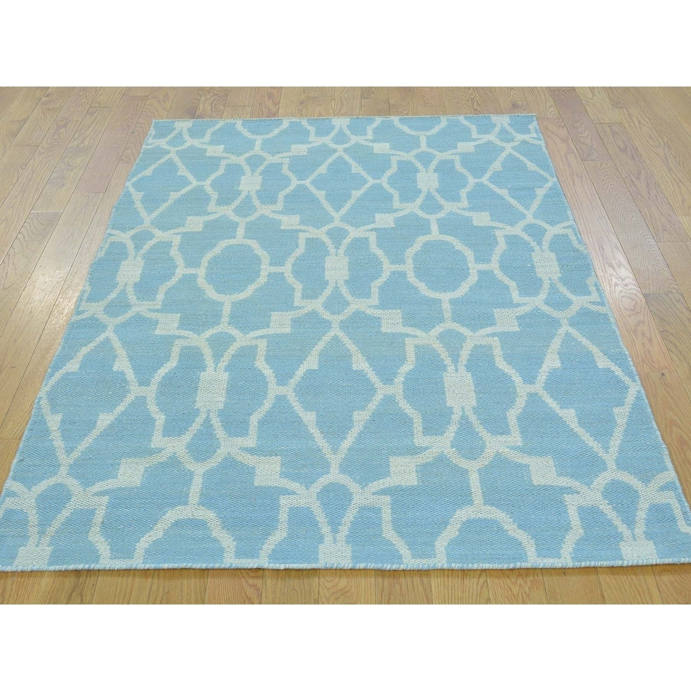 Hand Knotted Blue Flat Weave with Cotton Oriental Rug - 38 x 54