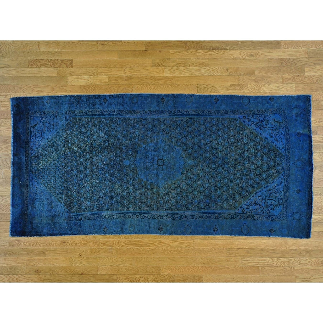Hand Knotted Blue Overdyed & Vintage with Wool Oriental Rug - 45 x 95