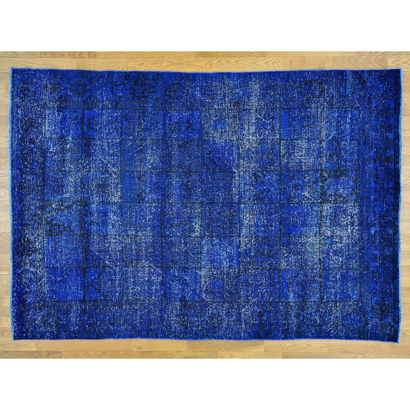 Hand Knotted Blue Overdyed & Vintage with Wool Oriental Rug - 69 x 910