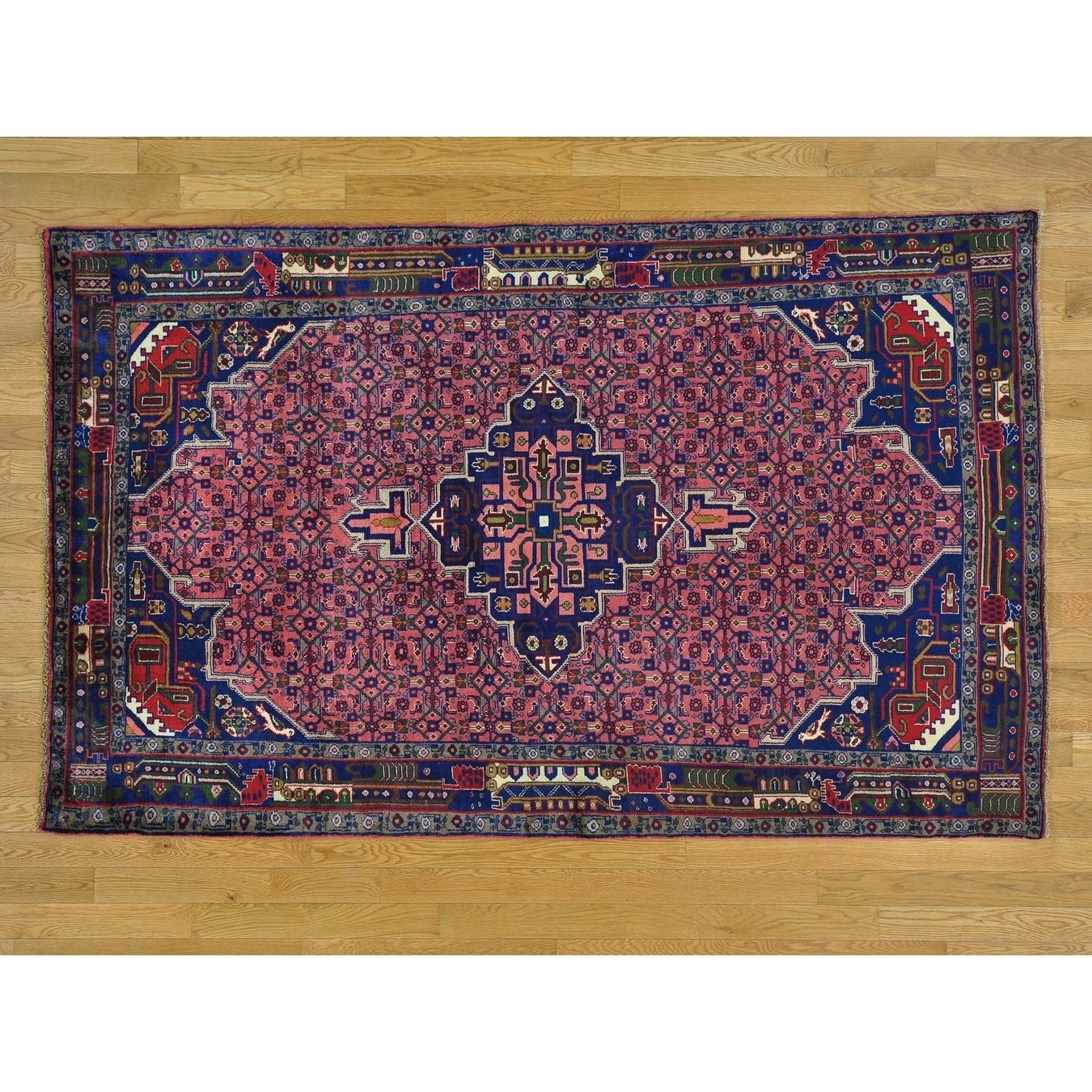Hand Knotted Pink Persian with Wool Oriental Rug - 410 x 79