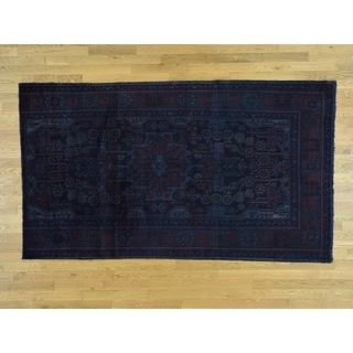 Hand Knotted Blue Overdyed & Vintage with Wool Oriental Rug - 5'2 x 9'2