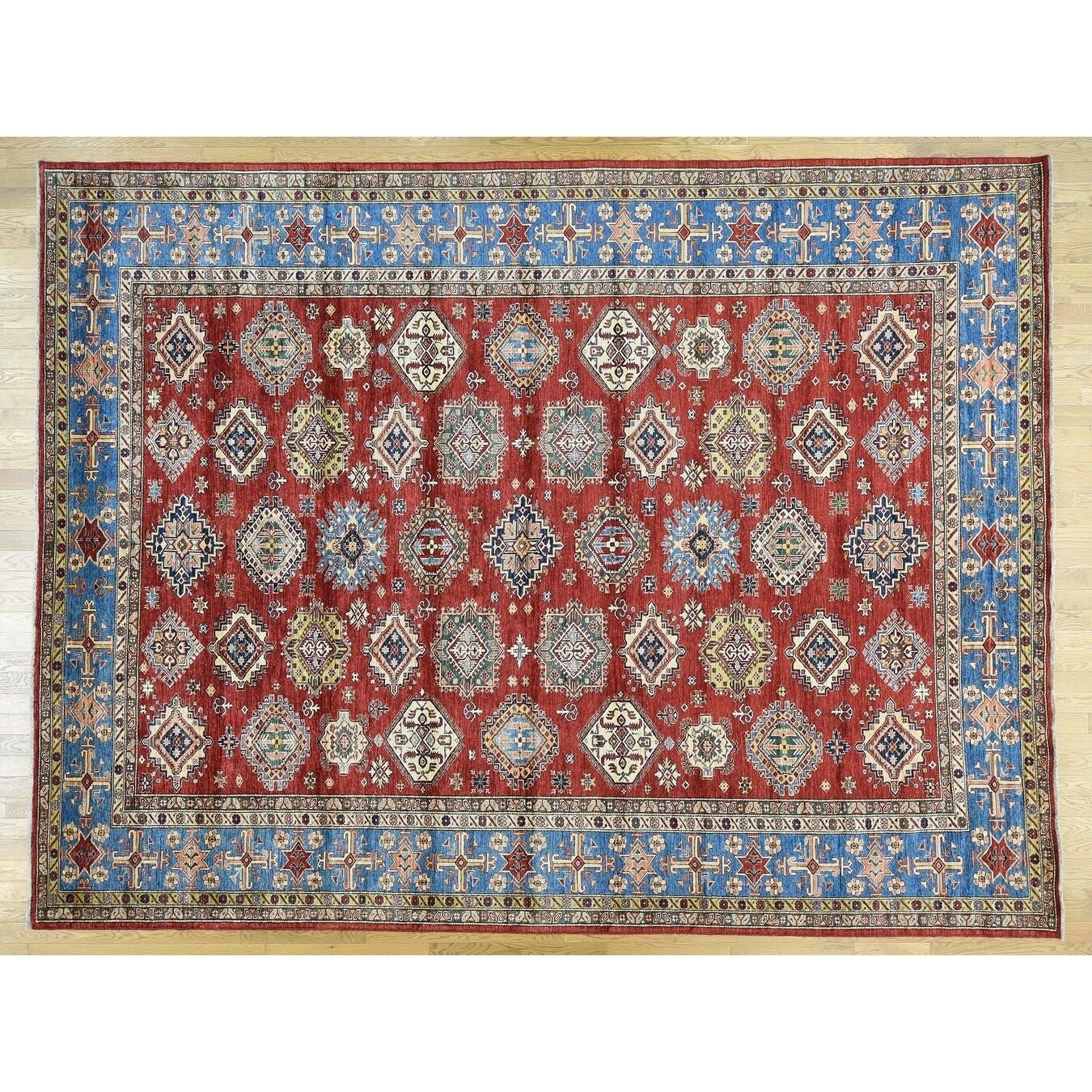 Hand Knotted Red Kazak with Wool Oriental Rug - 103 x 136