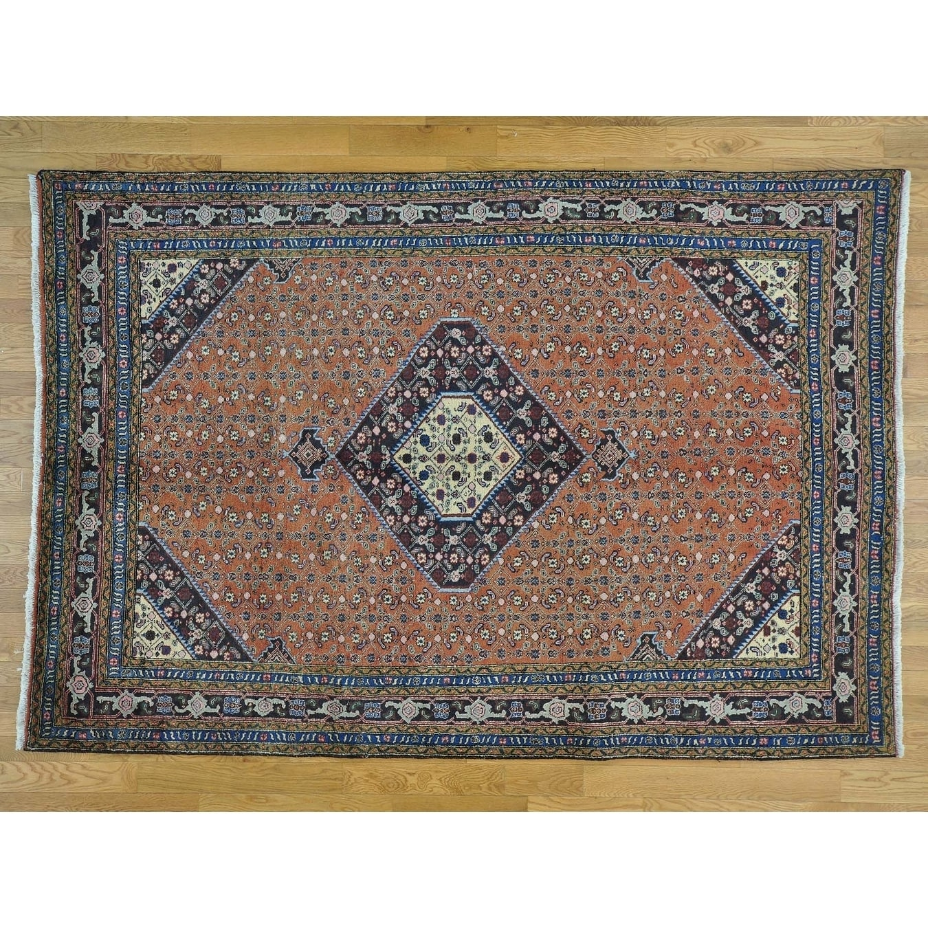 Hand Knotted Red Fine Oriental with Wool & Silk Oriental Rug - 66 x 98