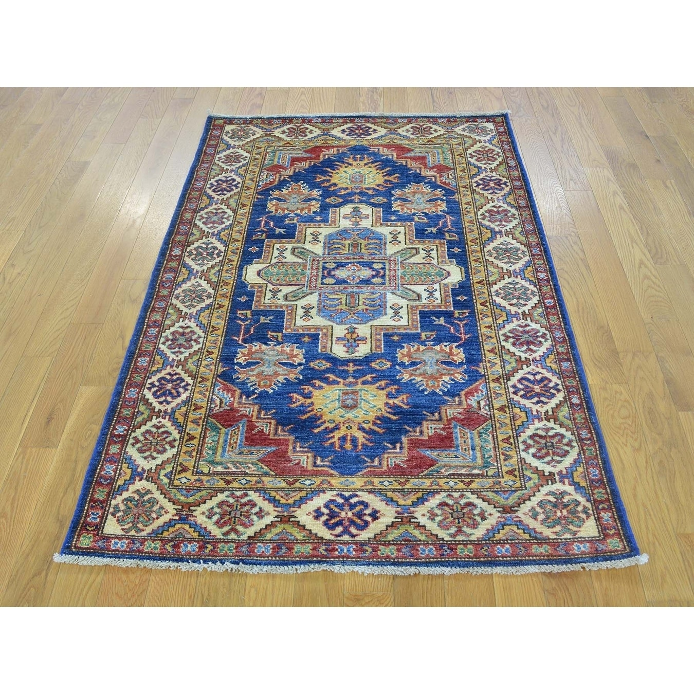 Hand Knotted Blue Kazak with Wool Oriental Rug - 33 X 5