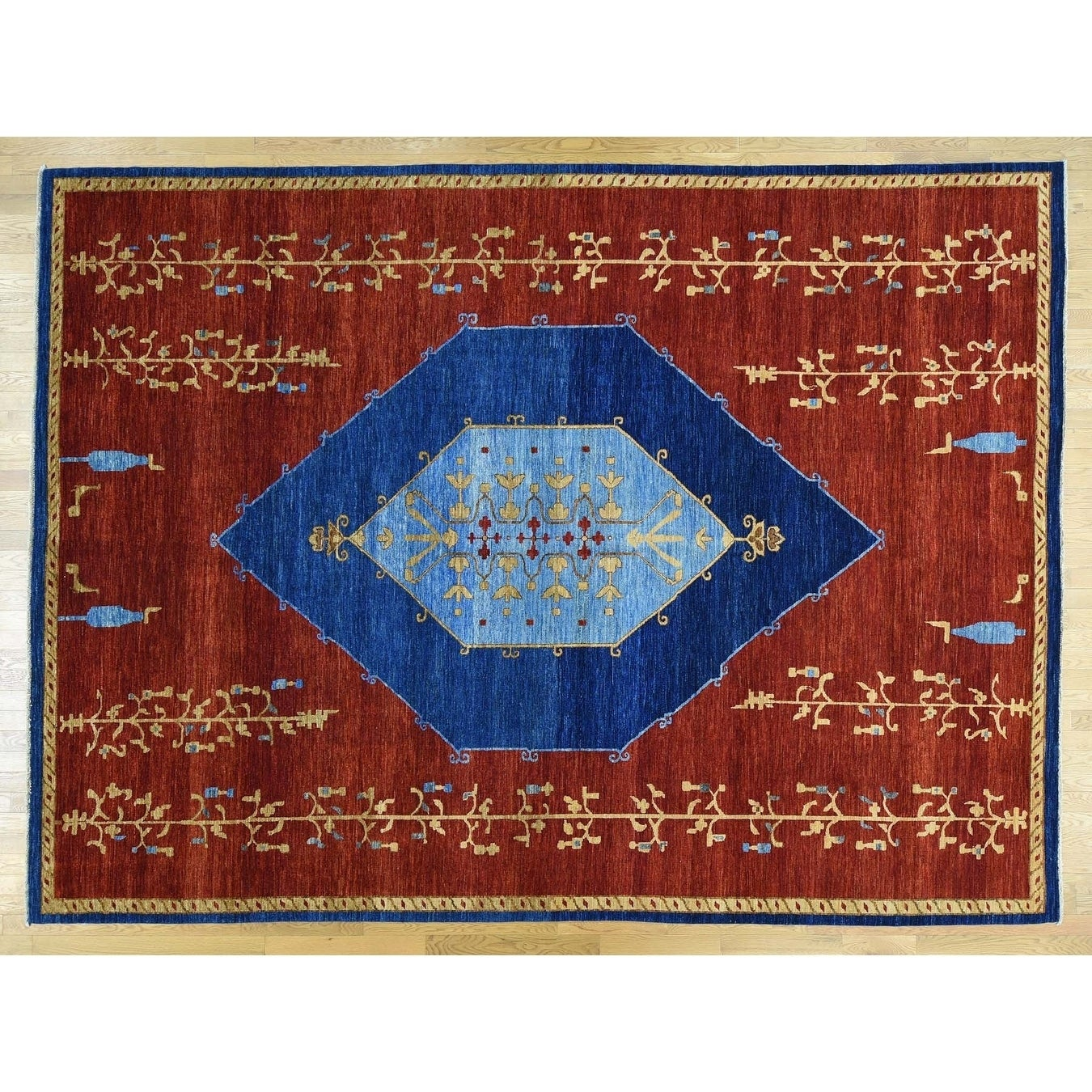 Hand Knotted Red Fine Oriental with Wool Oriental Rug - 103 x 14