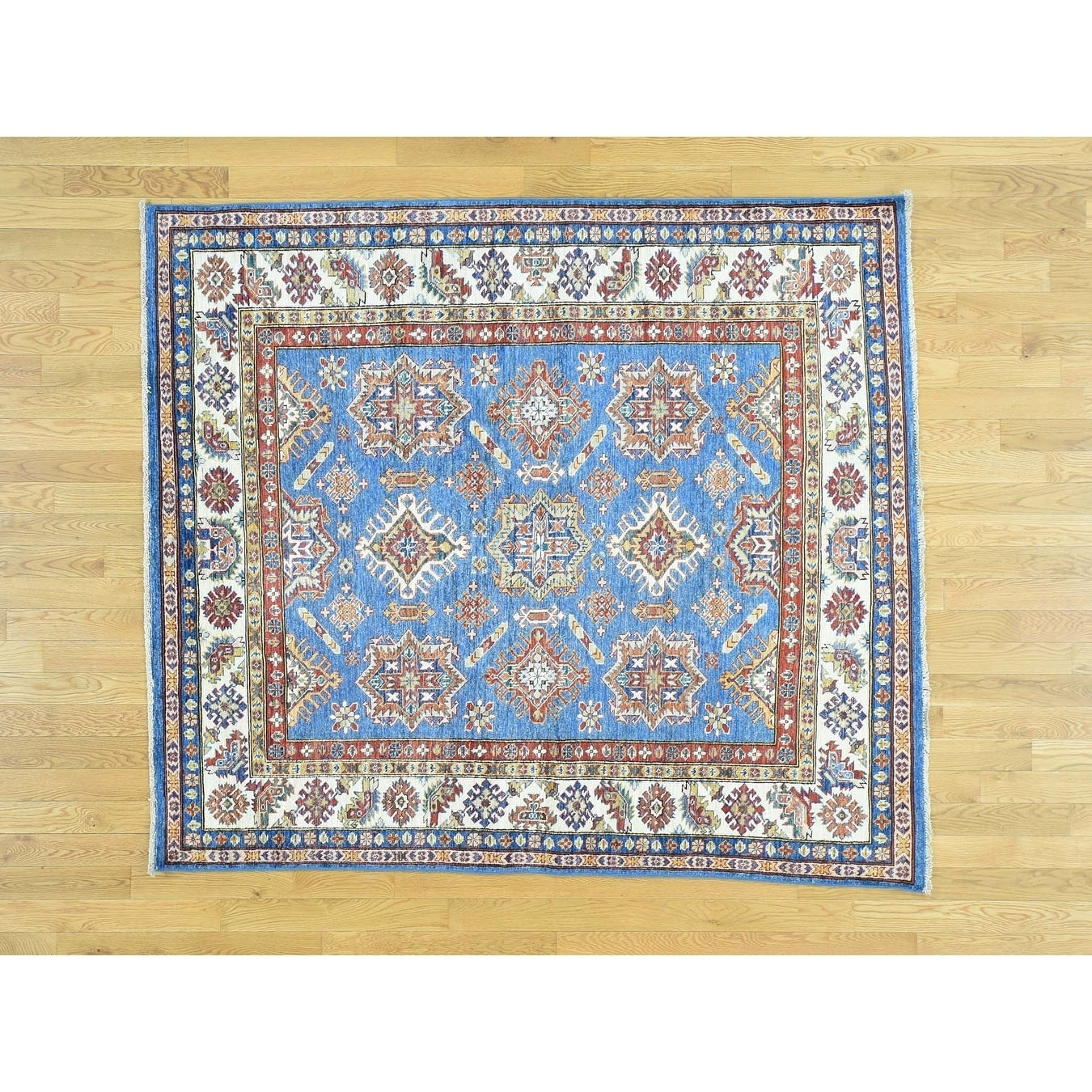 Hand Knotted Blue Kazak with Wool Oriental Rug - 59 x 67