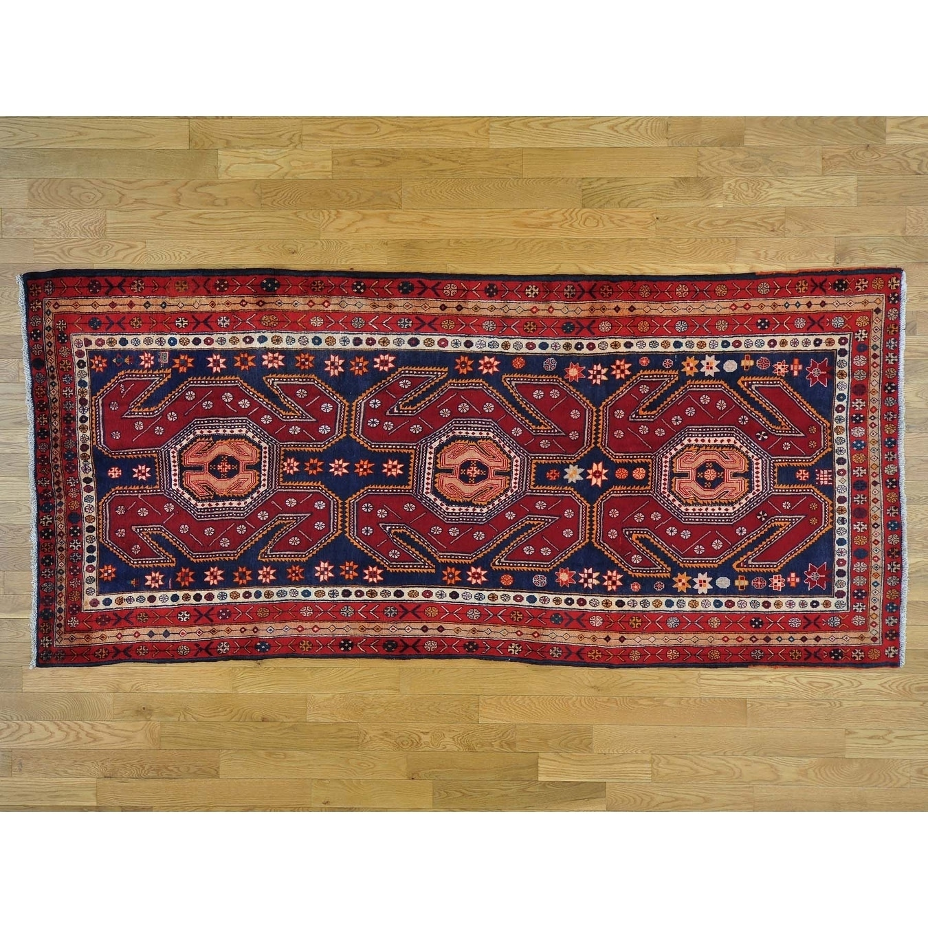 Hand Knotted Blue Persian with Wool Oriental Rug - 47 x 910