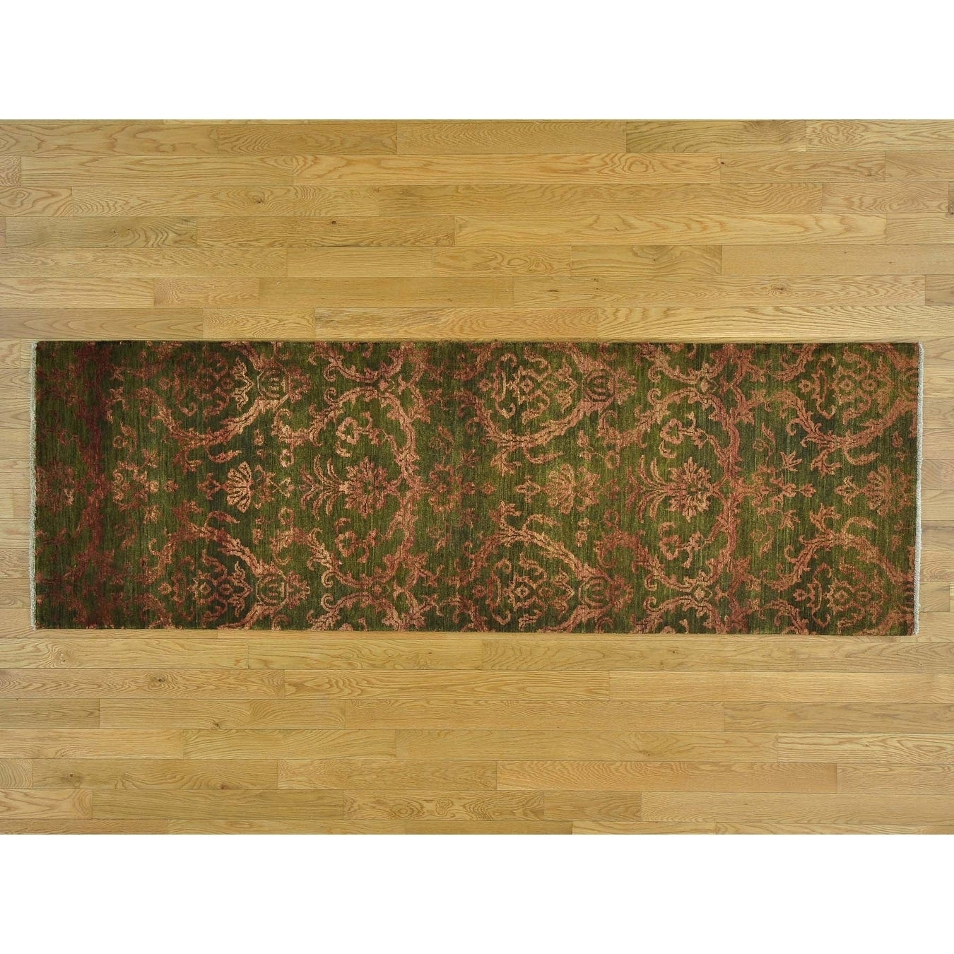 Hand Knotted Green Modern & Contemporary with Wool & Silk Oriental Rug - 28 x 8