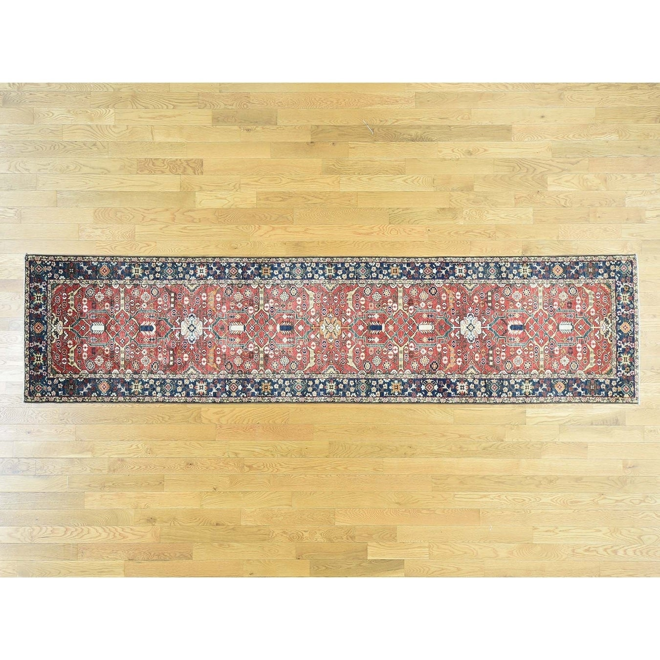 Hand Knotted Red Heriz with Wool Oriental Rug - 31 x 13