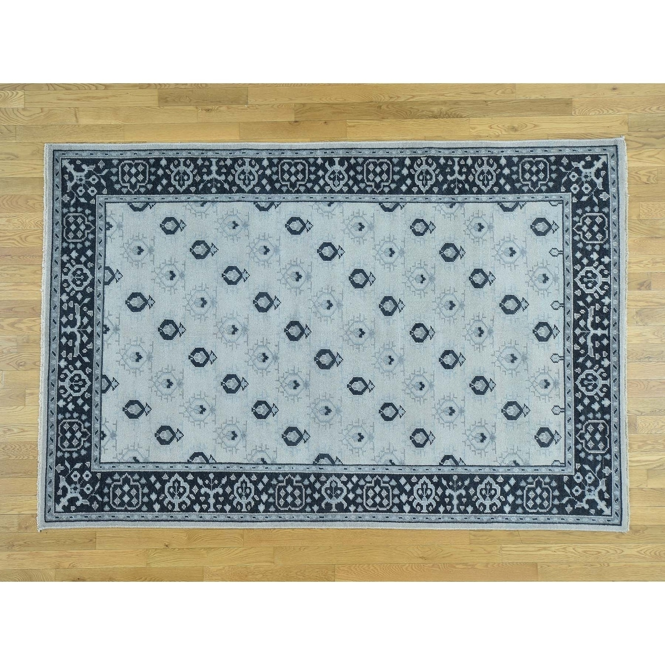 Hand Knotted Ivory Oushak And Peshawar with Wool Oriental Rug - 6 x 9
