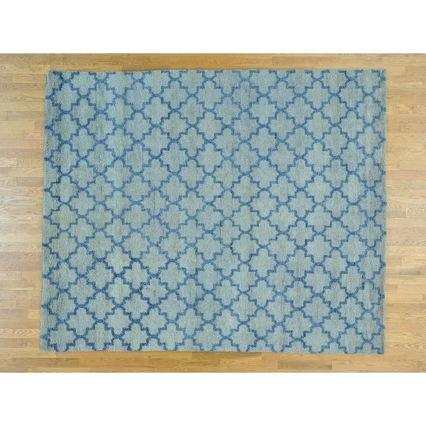 Hand Knotted Blue Clearance with Wool Oriental Rug - 8'1 x 9'9