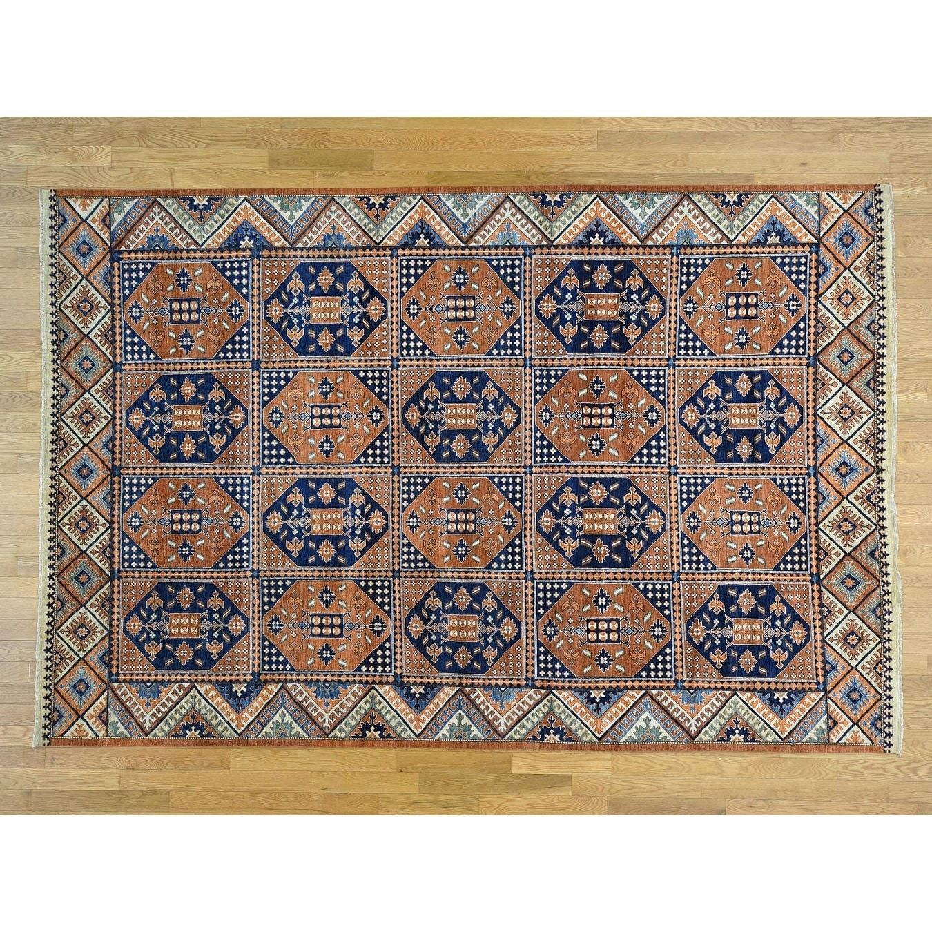 Hand Knotted Brown Tribal & Geometric with Wool Oriental Rug