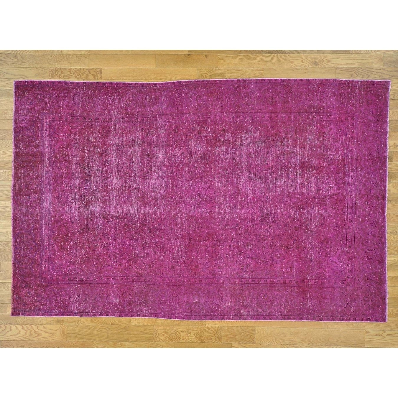 Hand Knotted Pink Overdyed & Vintage with Wool Oriental Rug - 64 x 10