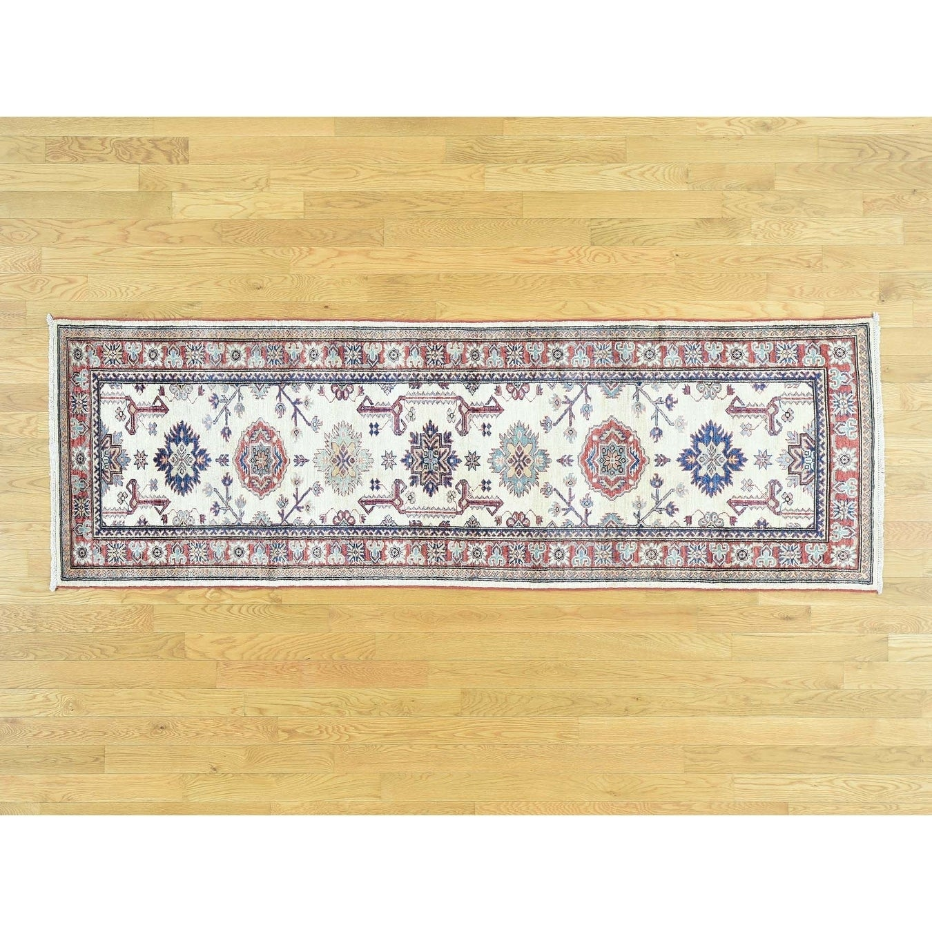 Hand Knotted Ivory Kazak with Wool Oriental Rug - 27 x 81