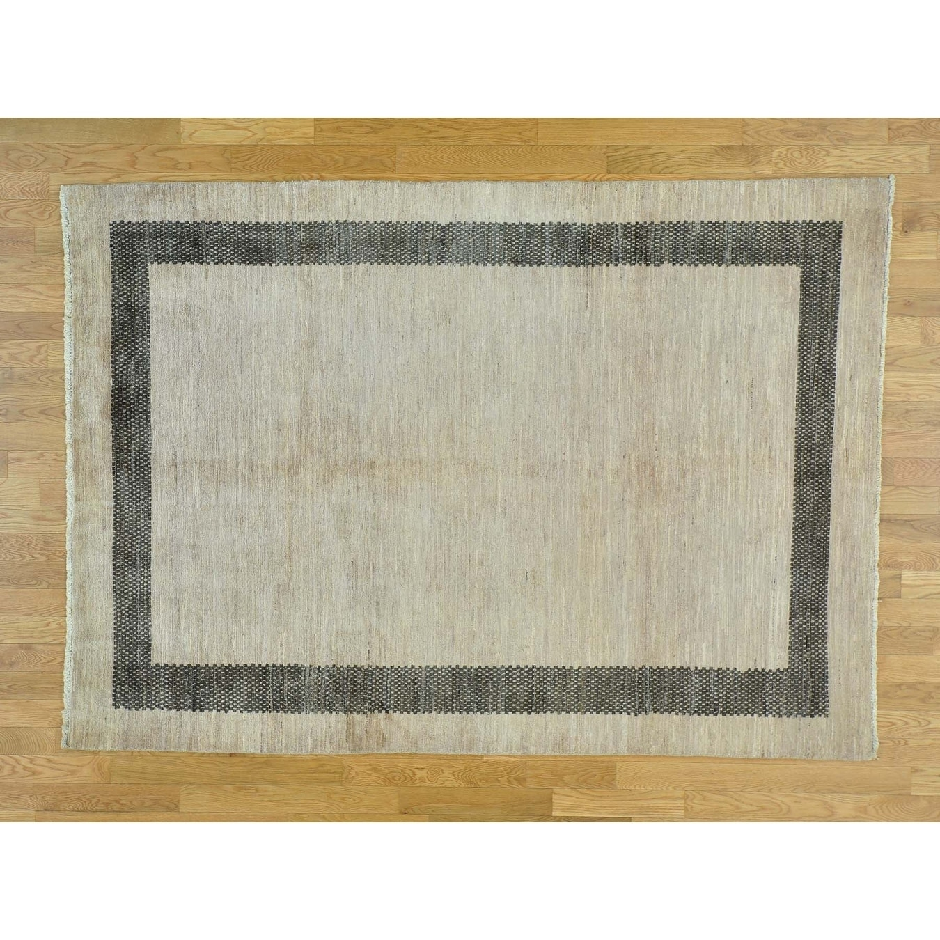 Hand Knotted Beige Modern & Contemporary with Wool Oriental Rug - 57 x 8