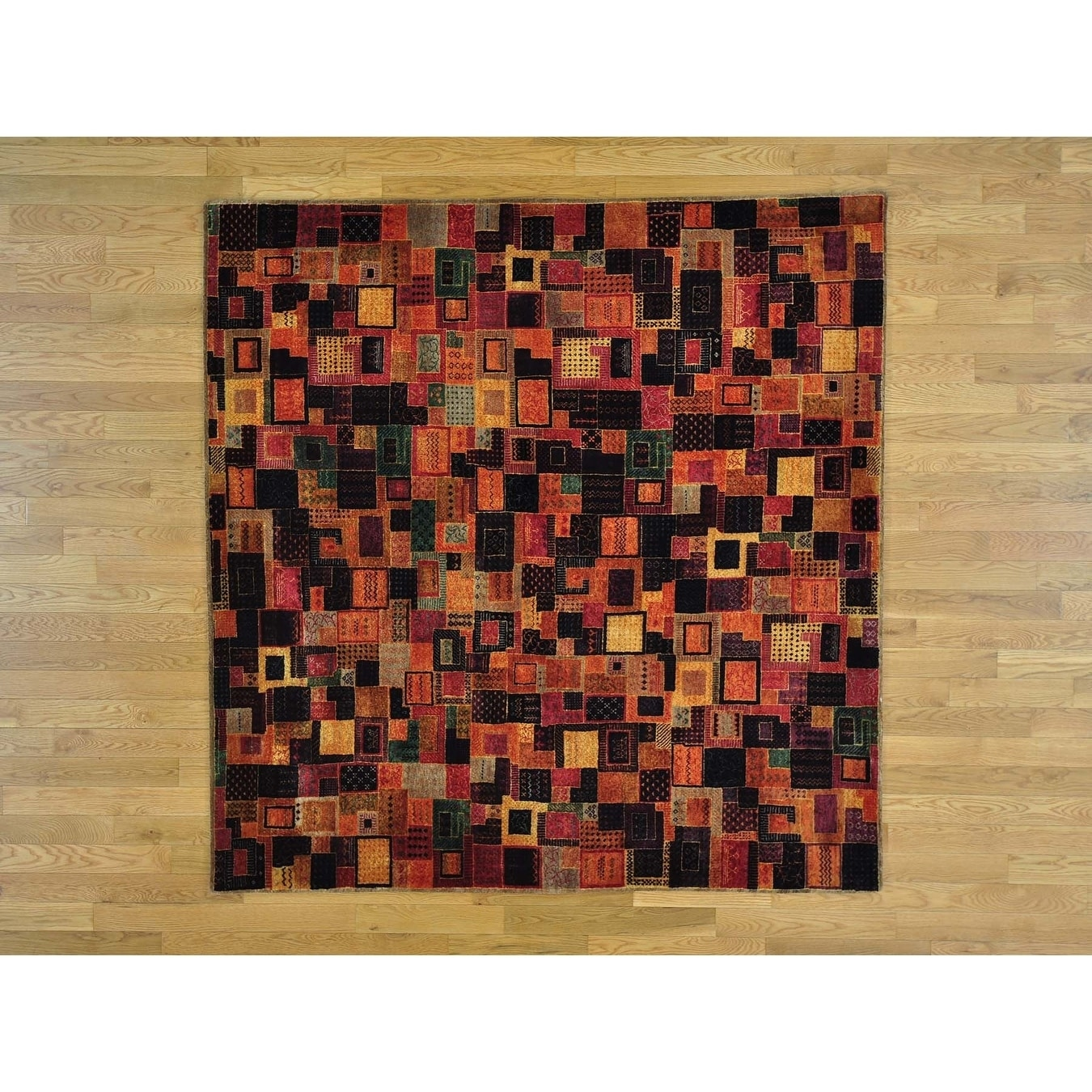 Hand Knotted Multicolored Modern & Contemporary with Wool & Silk Oriental Rug - 65 x 65