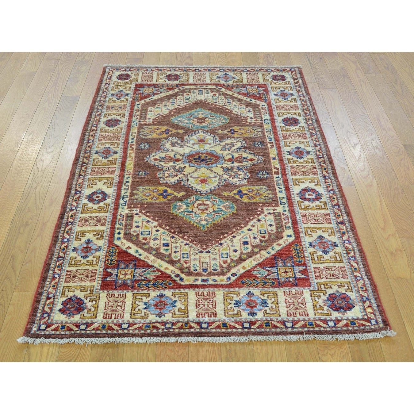 Hand Knotted Brown Kazak with Wool Oriental Rug - 32 x 52