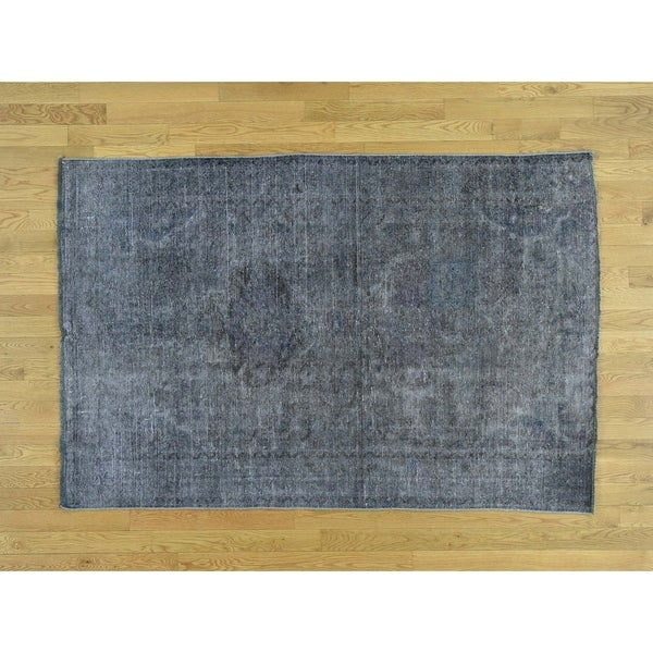 Hand Knotted Grey Overdyed & Vintage with Wool Oriental Rug - 4'6 x 6'9