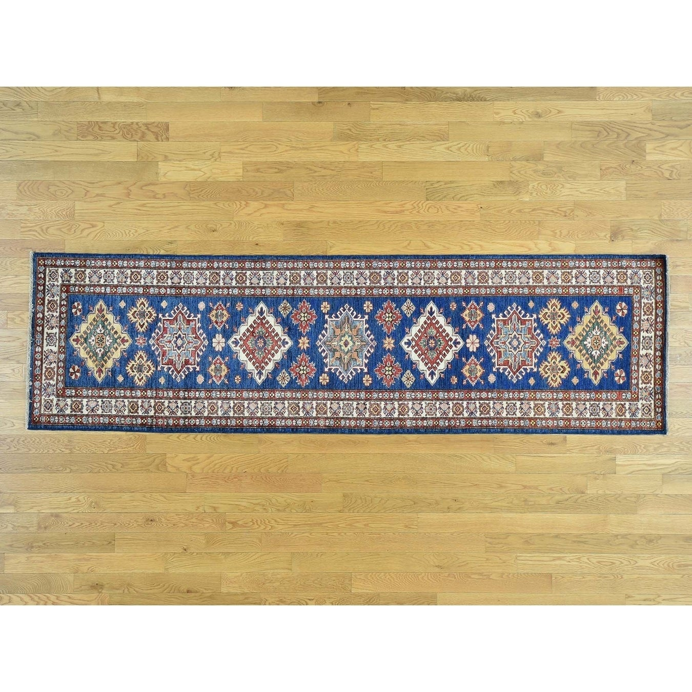 Hand Knotted Blue Kazak with Wool Oriental Rug - 29 x 98