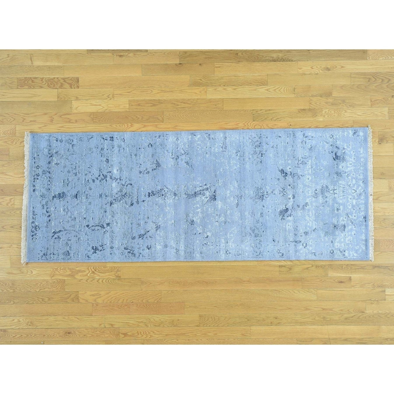 Hand Knotted Blue Modern & Contemporary with Wool & Silk Oriental Rug - 3 x 79
