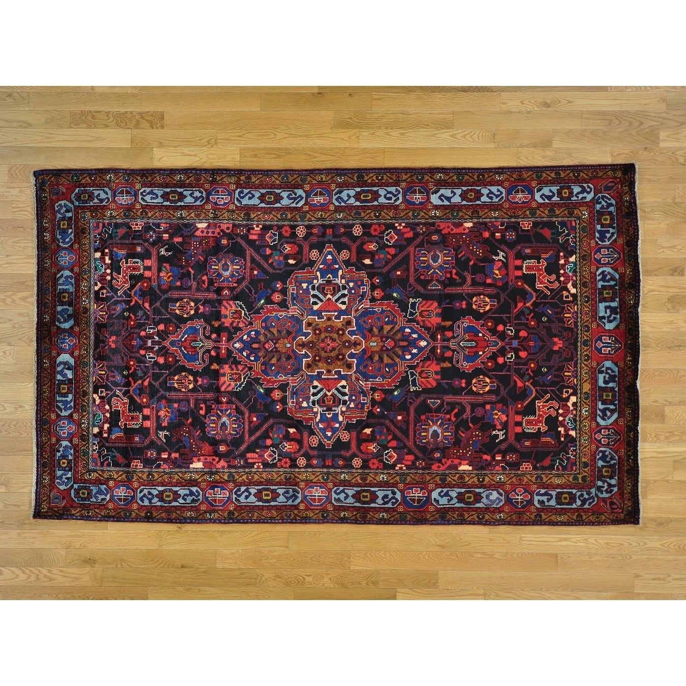 Hand Knotted Black Persian with Wool Oriental Rug - 53 x 9
