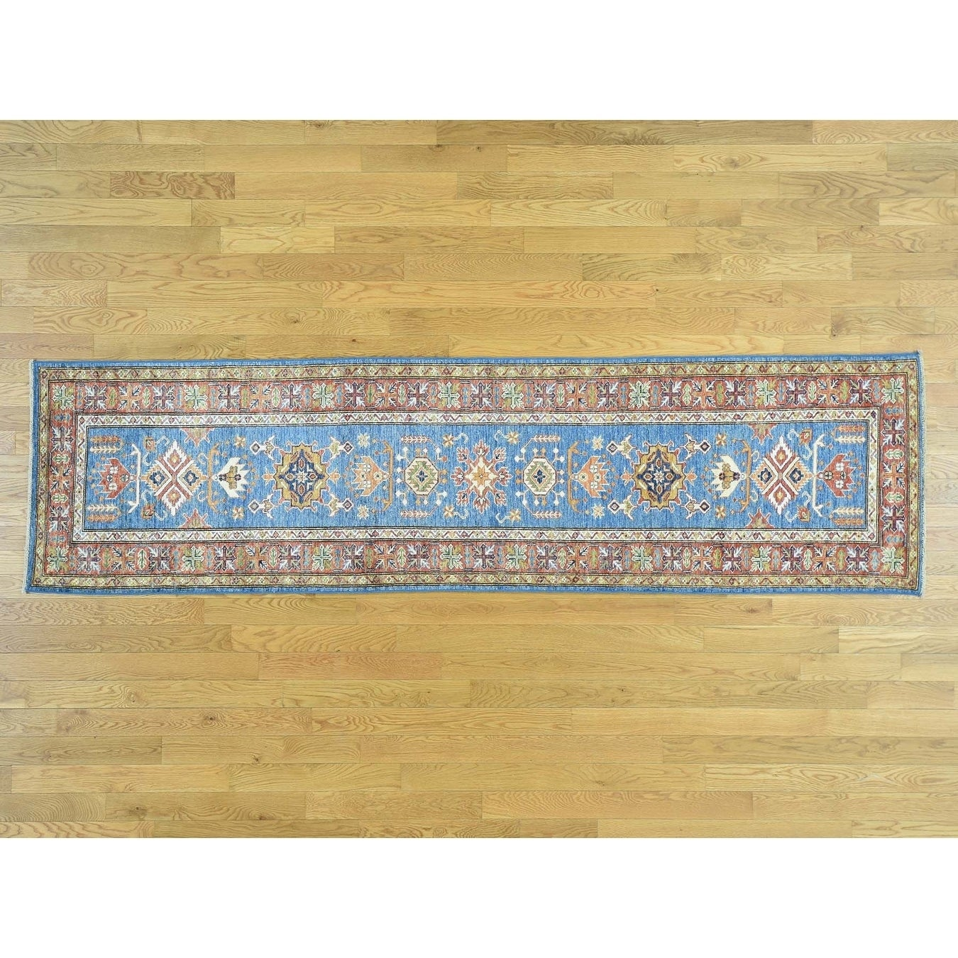 Hand Knotted Blue Kazak with Wool Oriental Rug - 28 x 101