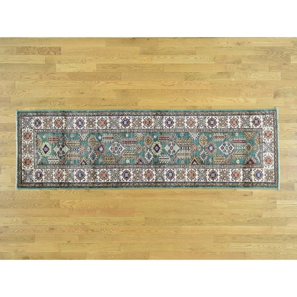 Shop Hand Knotted Green Kazak With Wool Oriental Rug