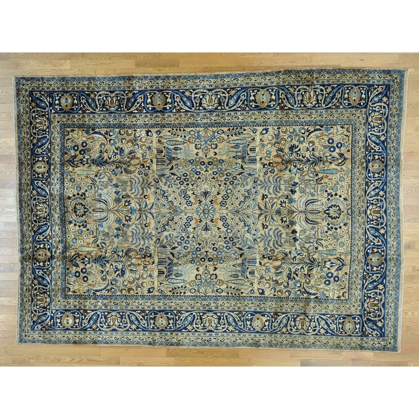 Hand Knotted Beige Antique with Wool Oriental Rug - 88 x 124