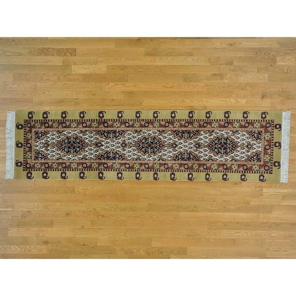 Hand Knotted Ivory Clearance with Wool Oriental Rug - 2'6 x 9'10
