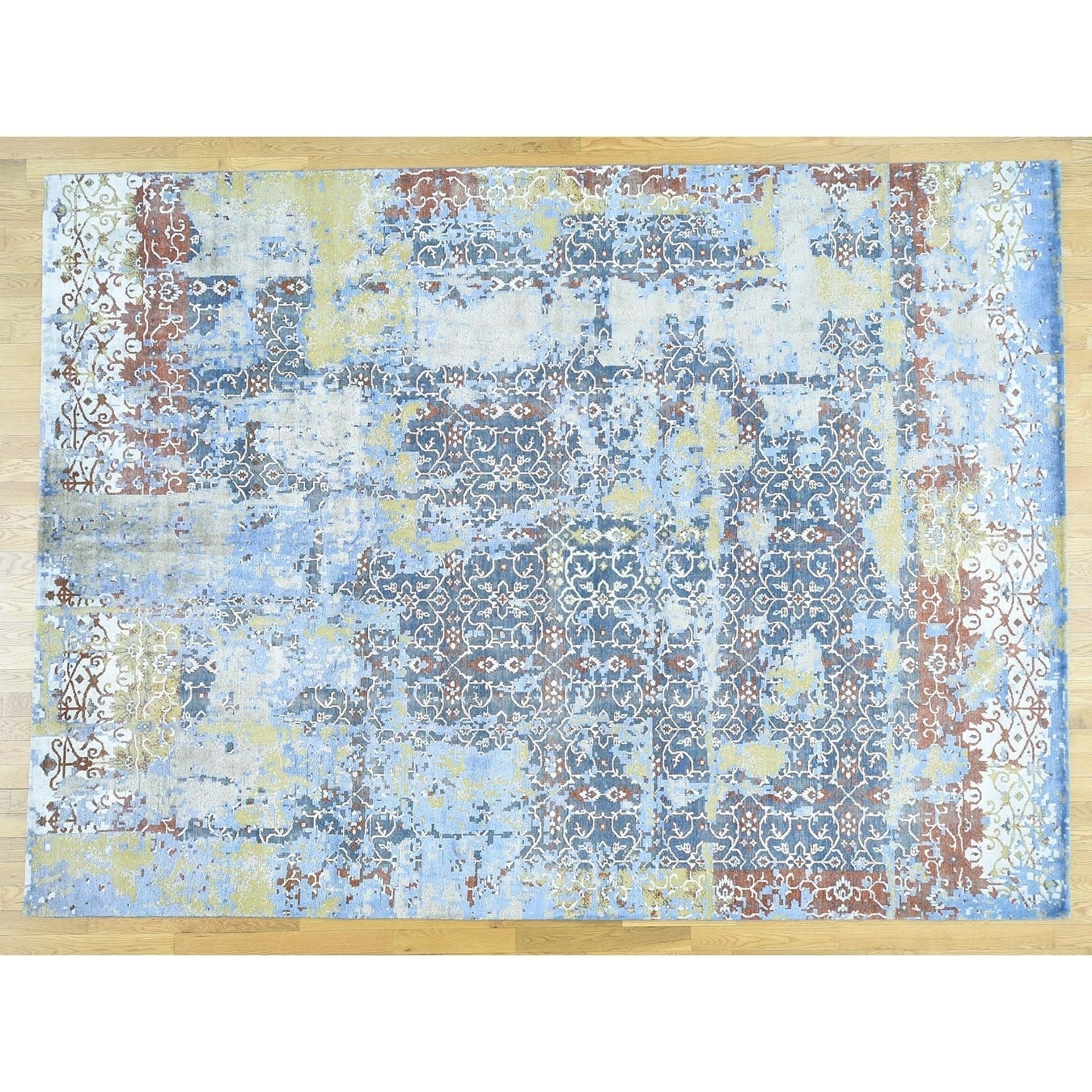 Hand Knotted Multicolored Fine Oriental with Wool & Silk Oriental Rug