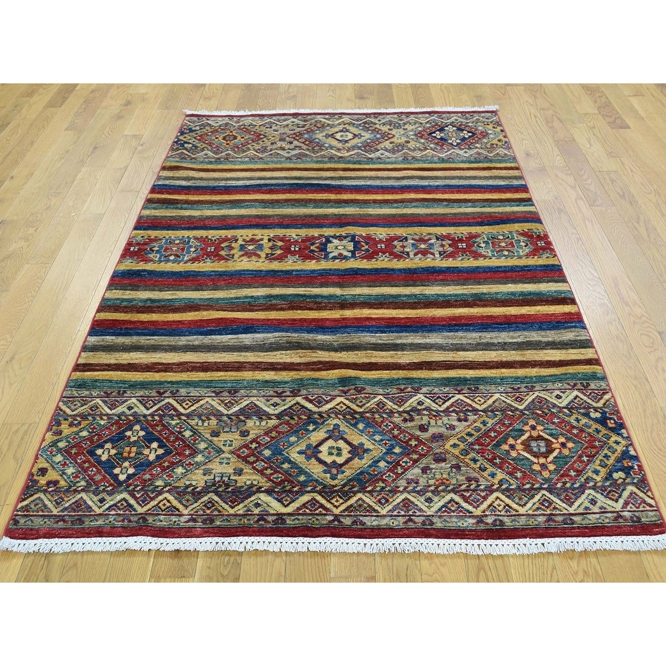 Hand Knotted Multicolored Kazak with Wool Oriental Rug - 43 x 65