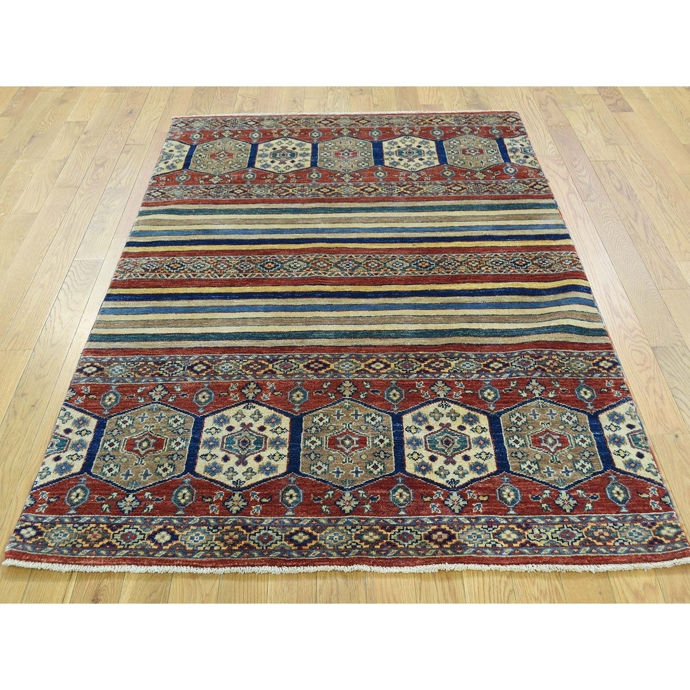 Hand Knotted Multicolored Kazak with Wool Oriental Rug - 4 x 59