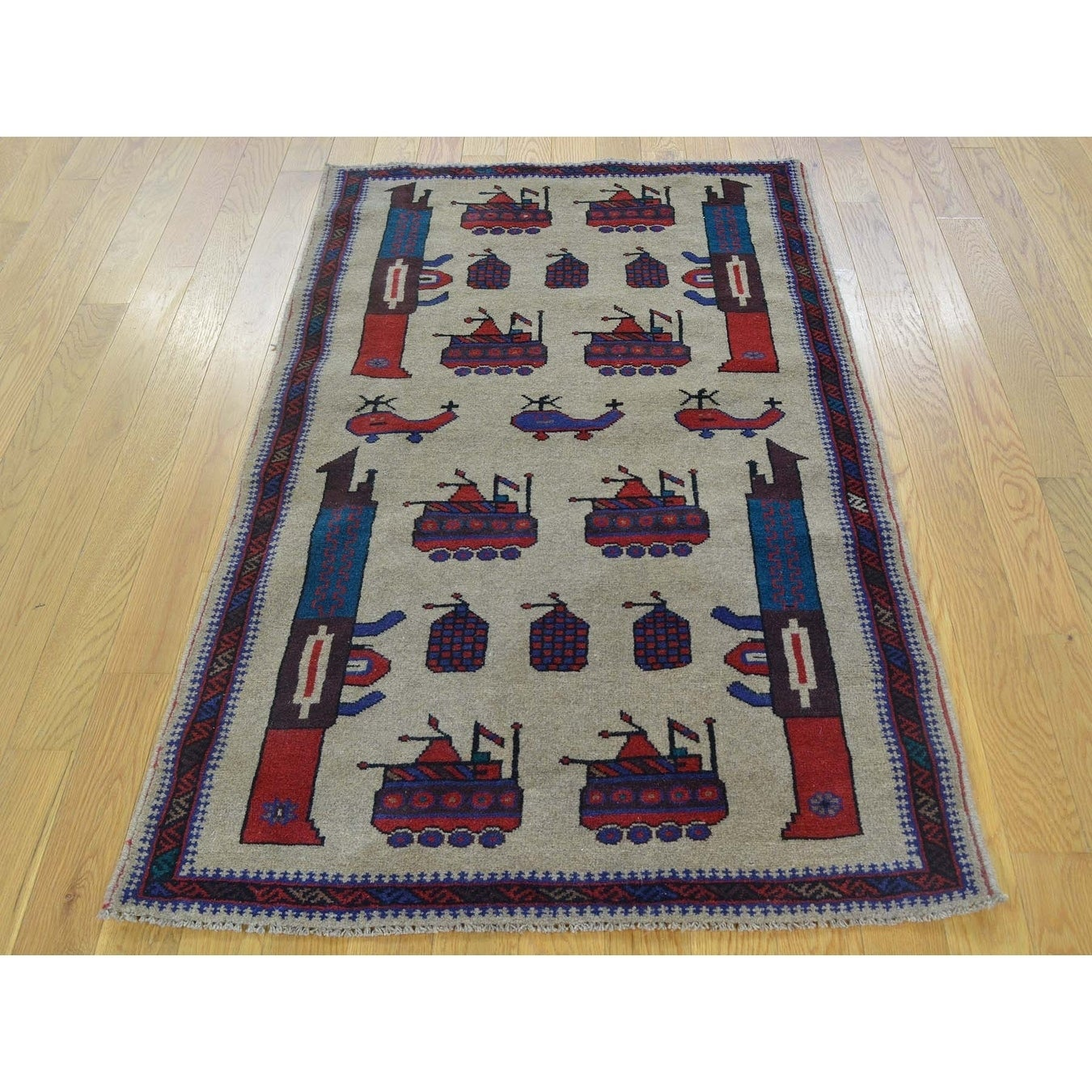 Hand Knotted Beige Tribal & Geometric with Wool Oriental Rug - 210 x 47