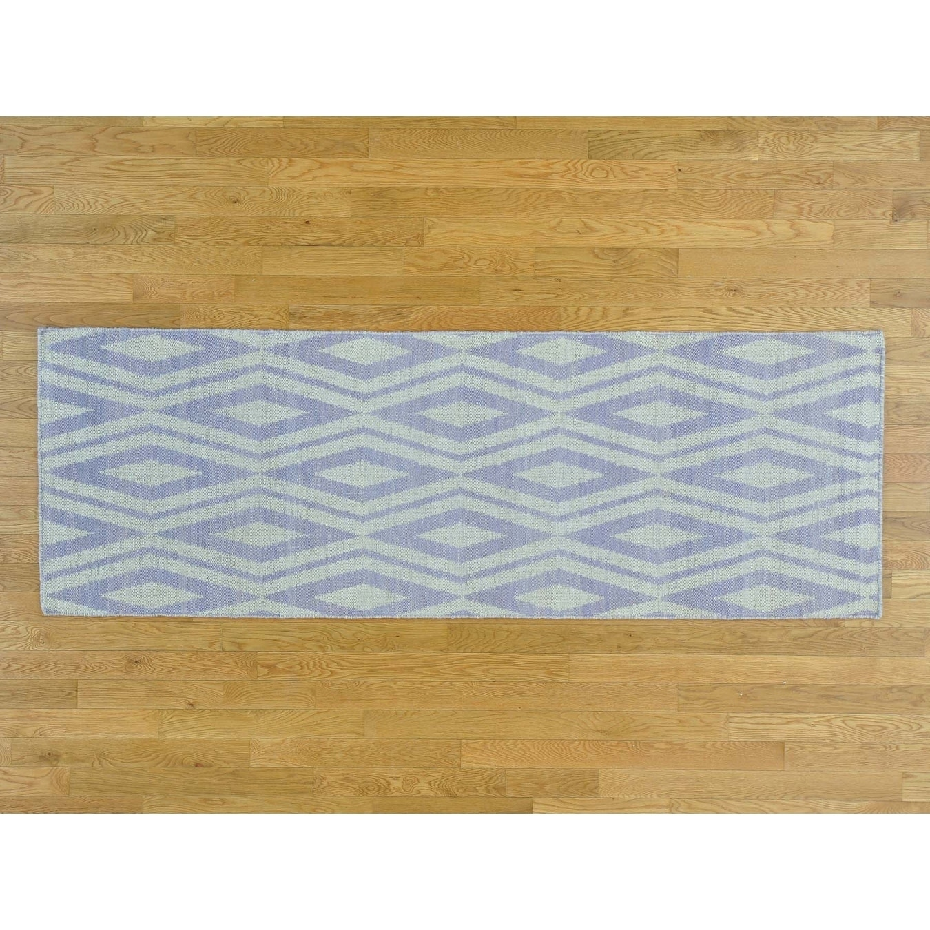 Hand Knotted Ivory Flat Weave with Cotton Oriental Rug - 28 x 8