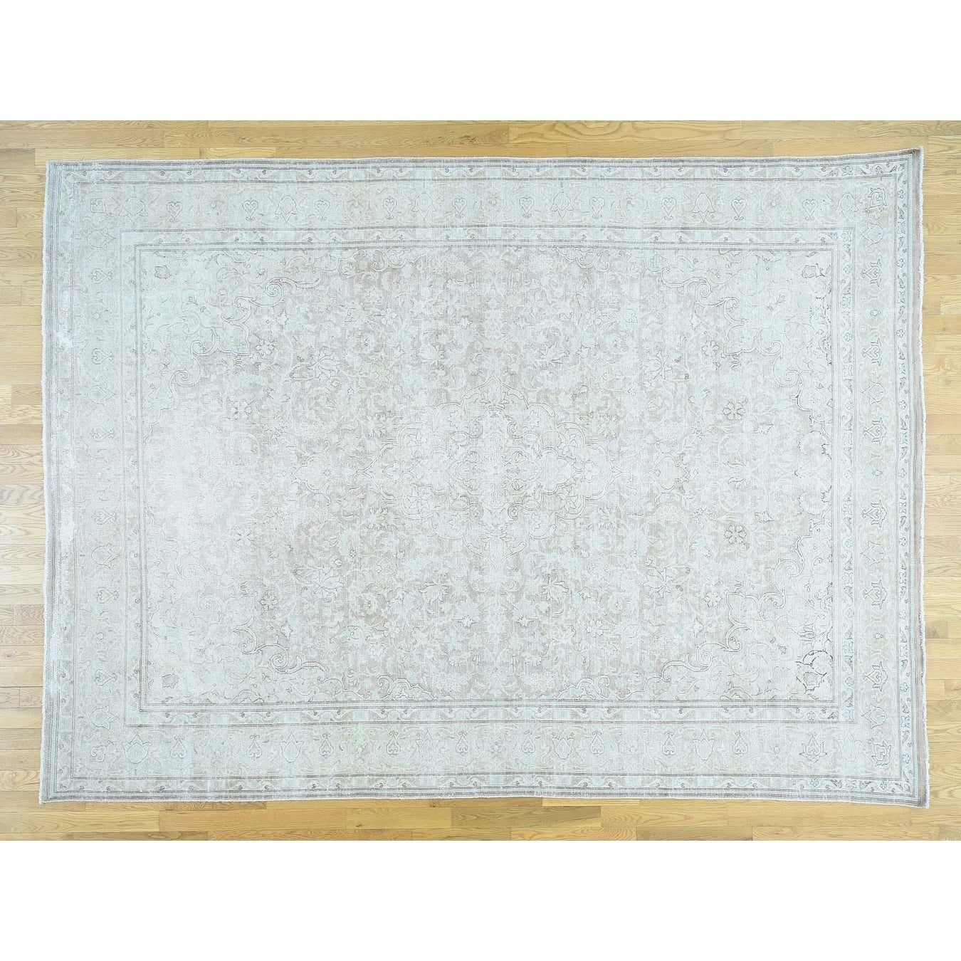 Hand Knotted Ivory White Wash Vintage & Silver Wash with Wool Oriental Rug - 810 x 12