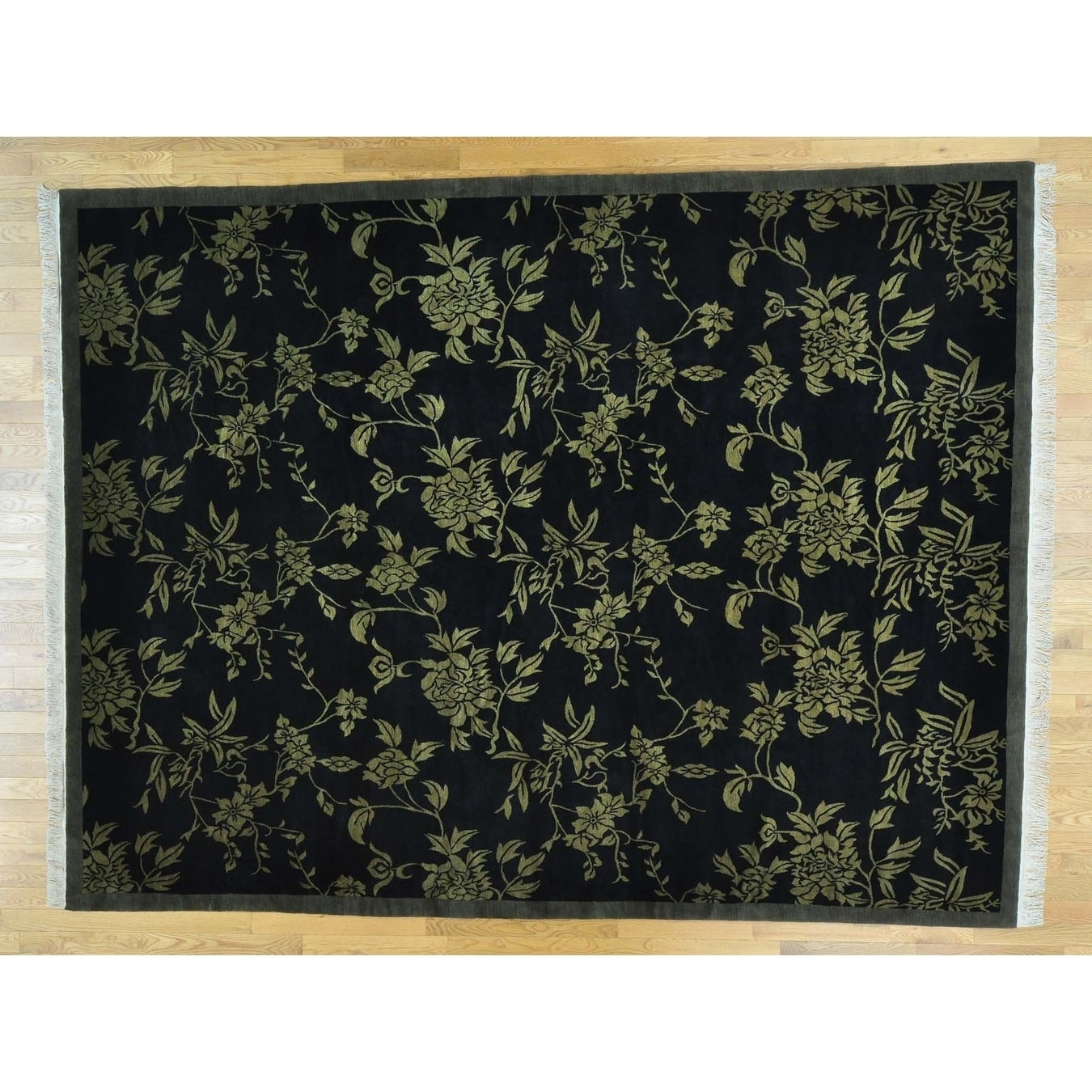 Hand Knotted Black Modern & Contemporary with Wool Oriental Rug