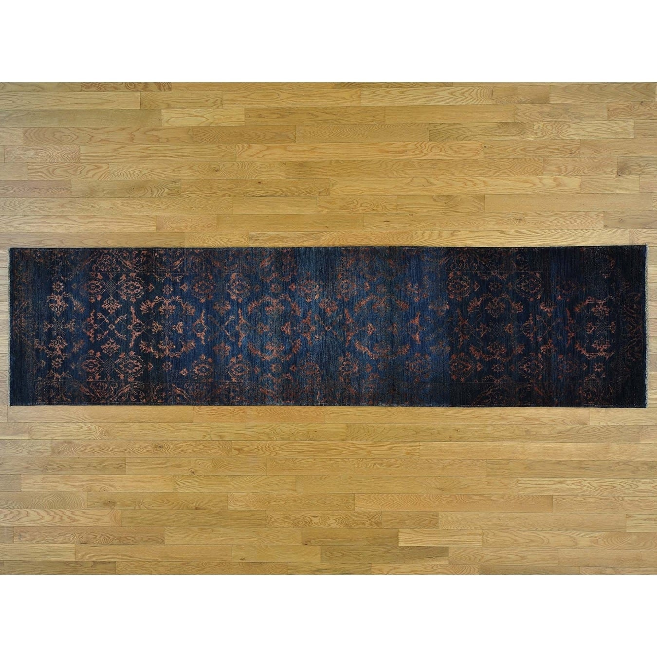 Hand Knotted Black Modern & Contemporary with Wool & Silk Oriental Rug - 26 x 910