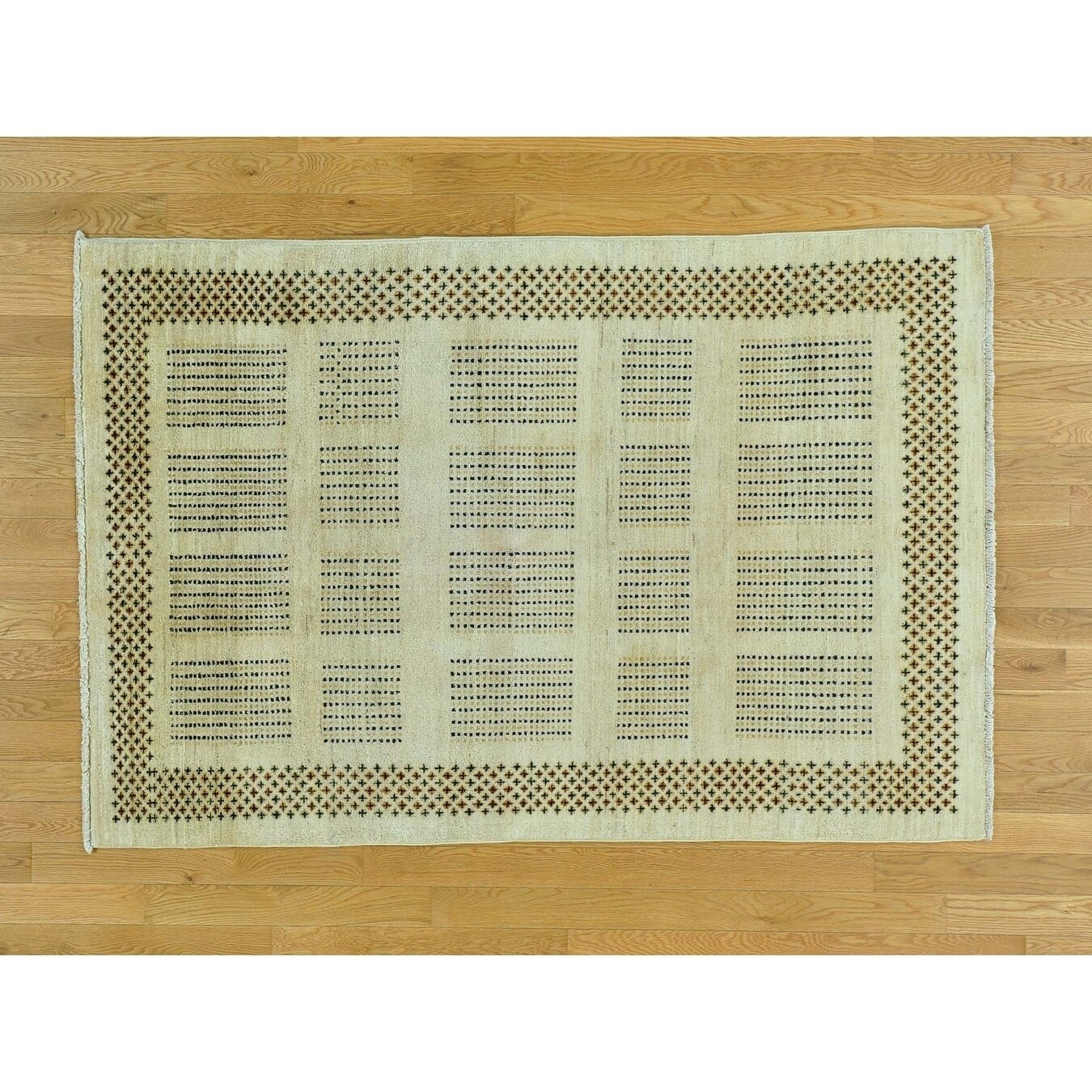 Hand Knotted Beige Modern & Contemporary with Wool Oriental Rug - 4 x 6