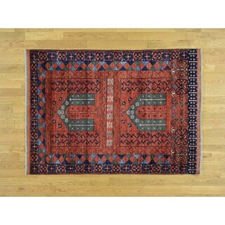 Hand Knotted Red Tribal & Geometric with Wool Oriental Rug - 4'2 x 5'10